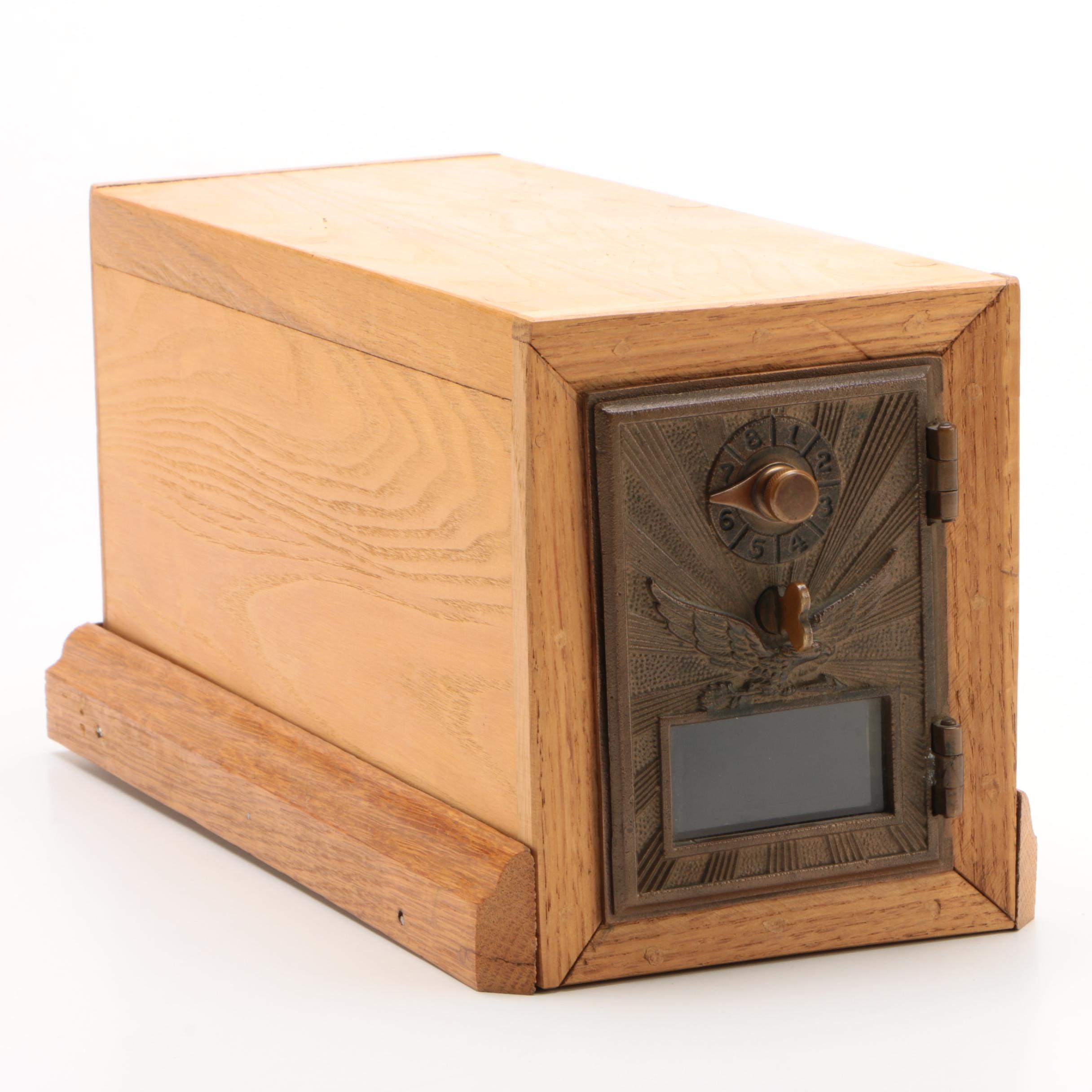 U.S. Post Office Box Door with Custom-Made Oak Case, Early 20th Century & Later