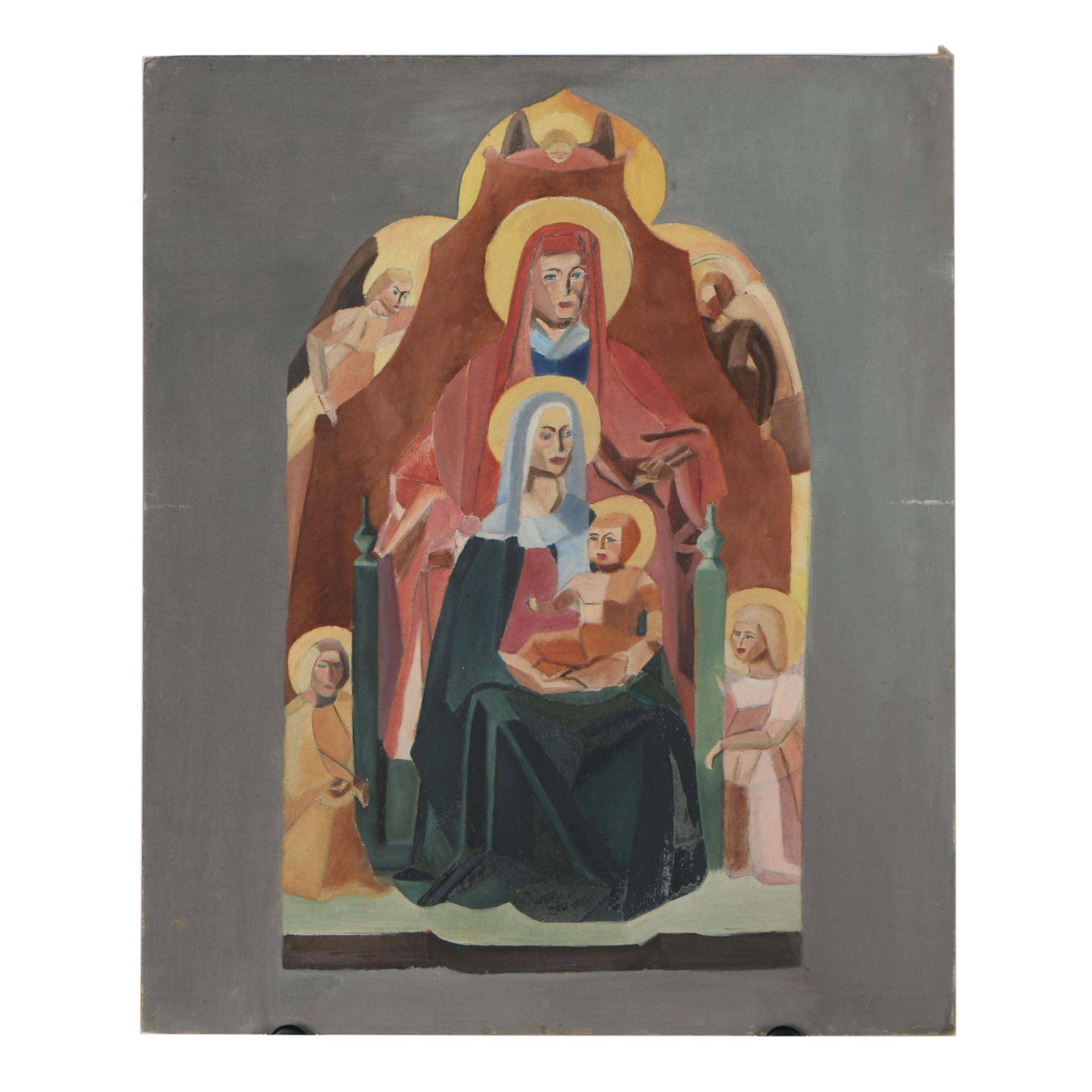 Late 20th Century Ecclesiastical Oil Painting