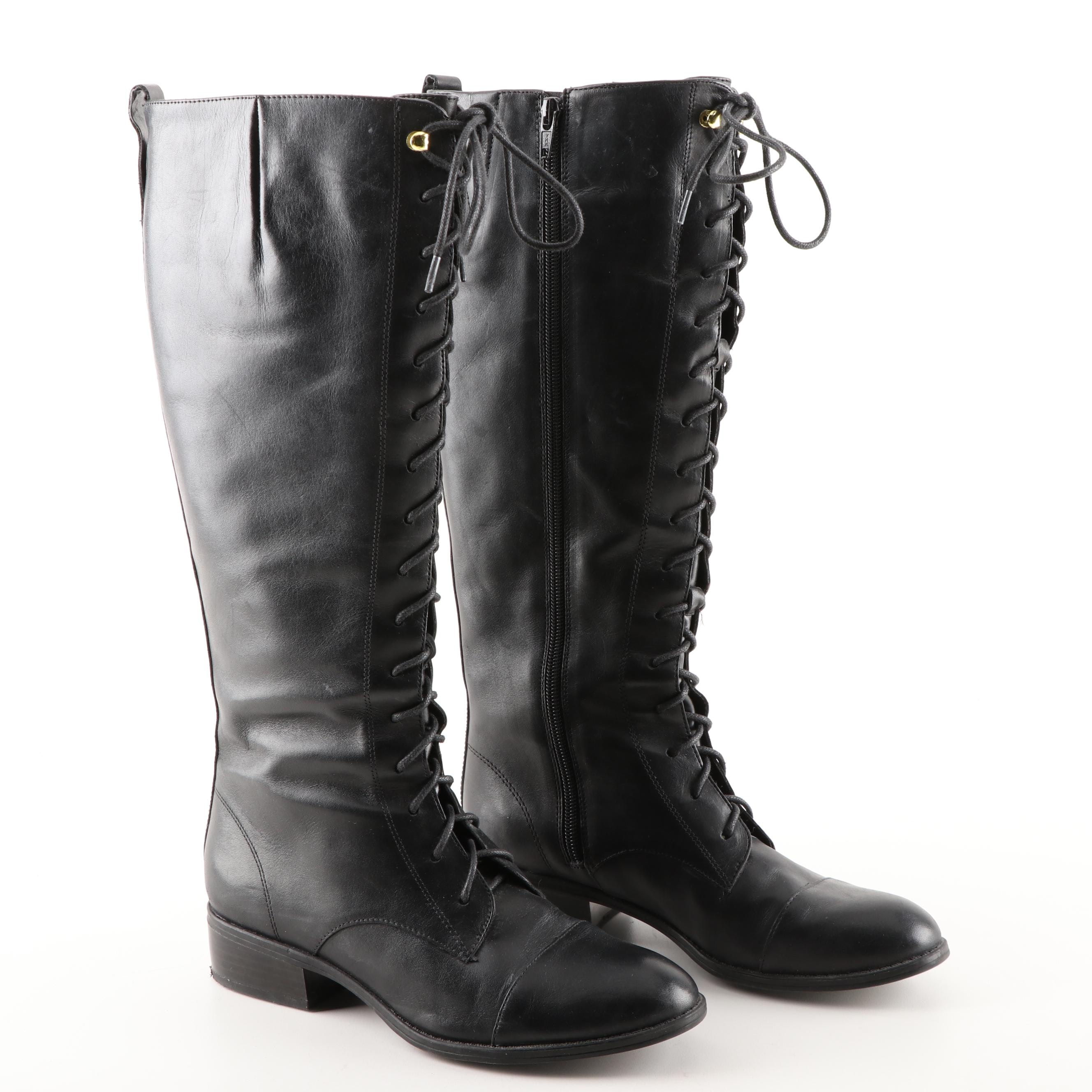 Women's Ralph Lauren Black Leather Martina Lace-Up Boots