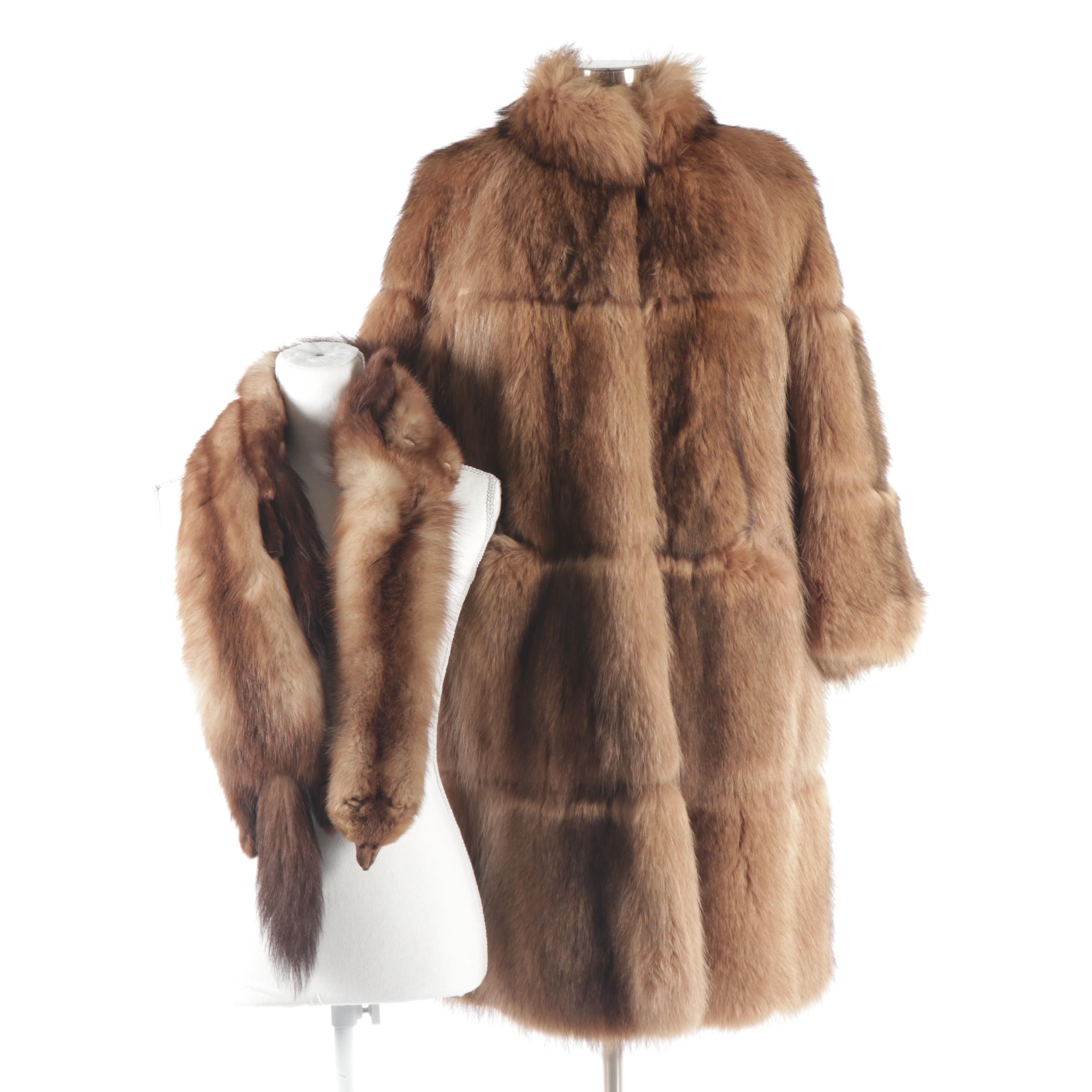 Women's Fox Fur Coat with Marten Fur Pelt Stole, Vintage