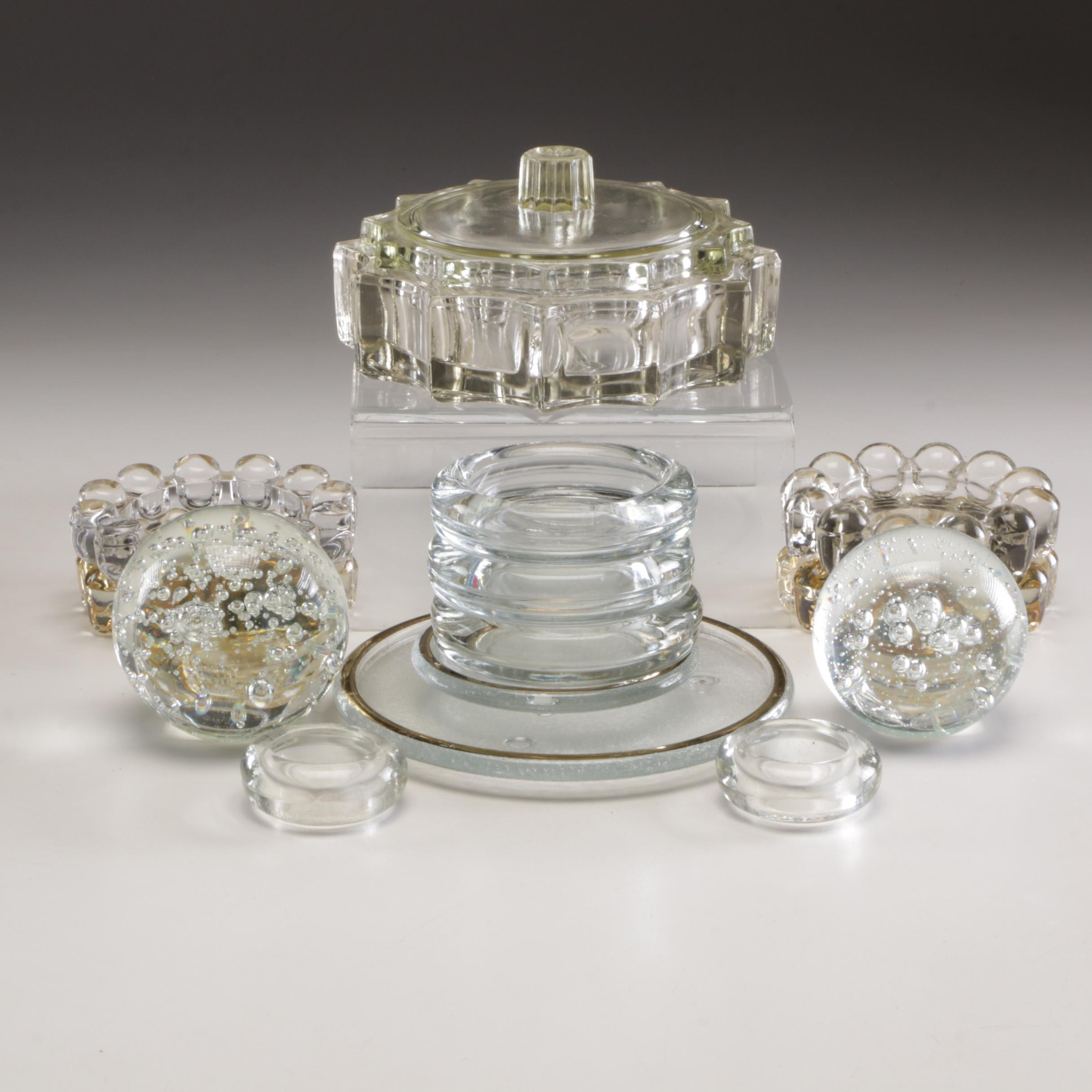 Grouping of Glass Trivets and Tableware and Crystal Paperweights