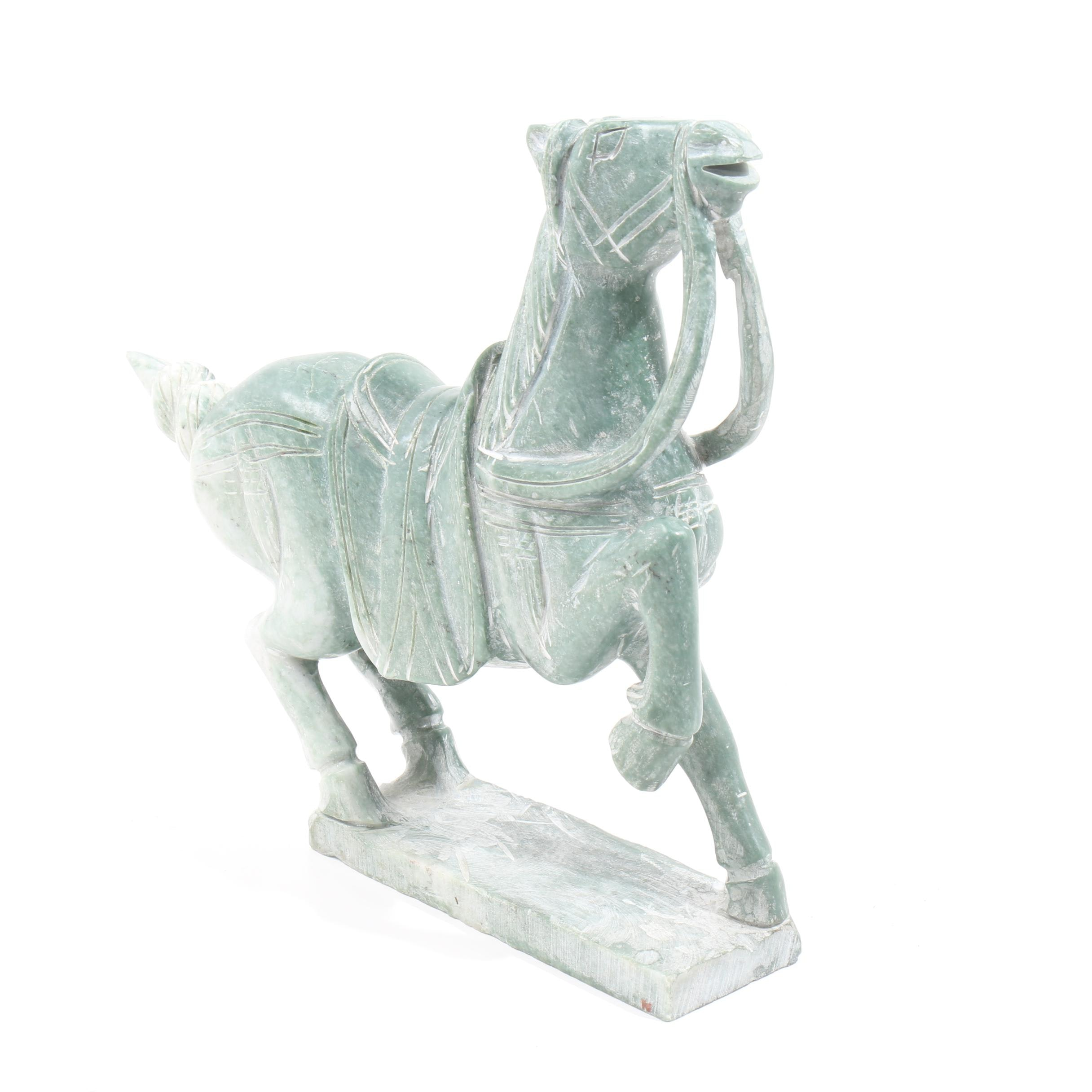 Chinese Tang Style Carved Serpentine Horse Sculpture