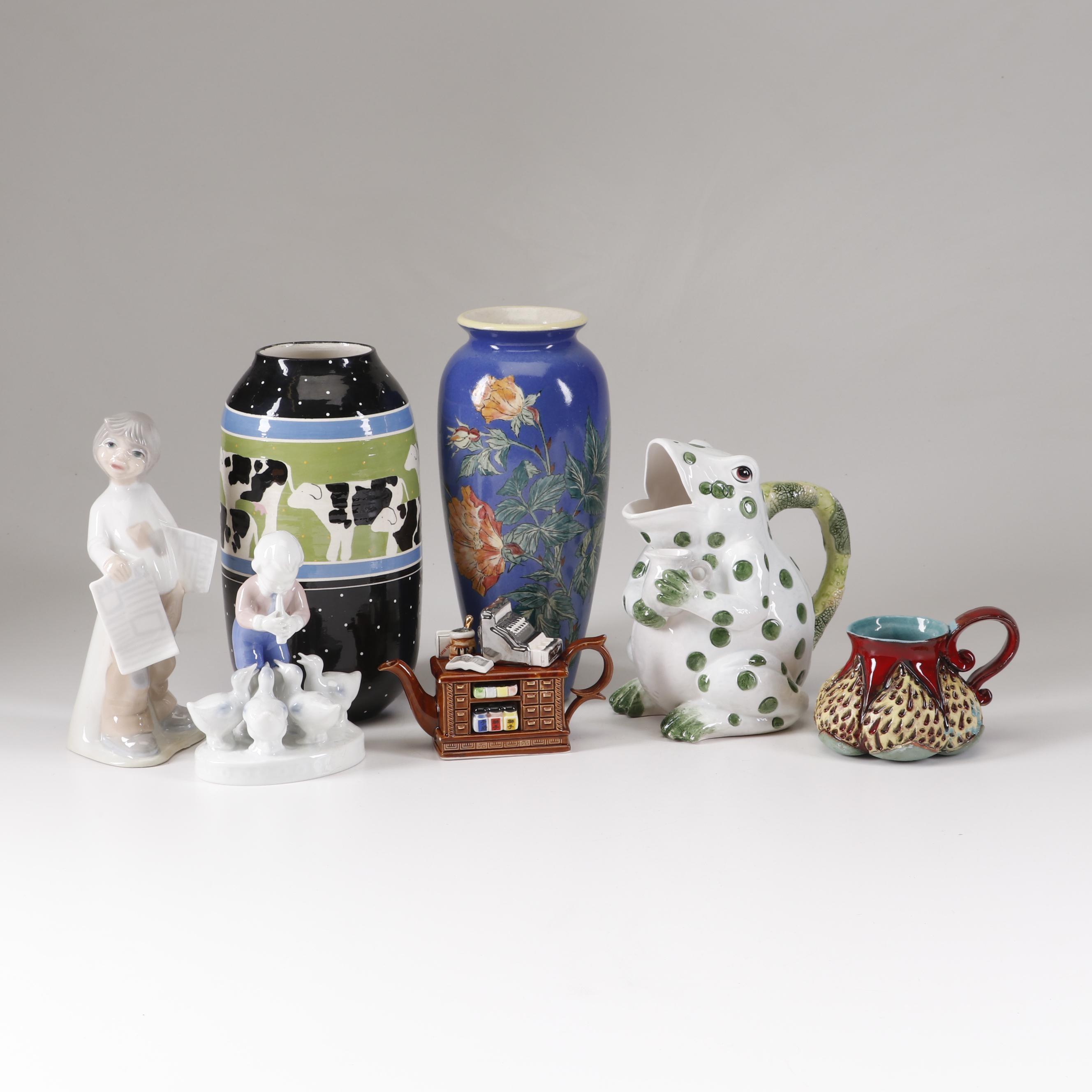 Pottery and Figurine Decor Including Santa Barbara Pottery