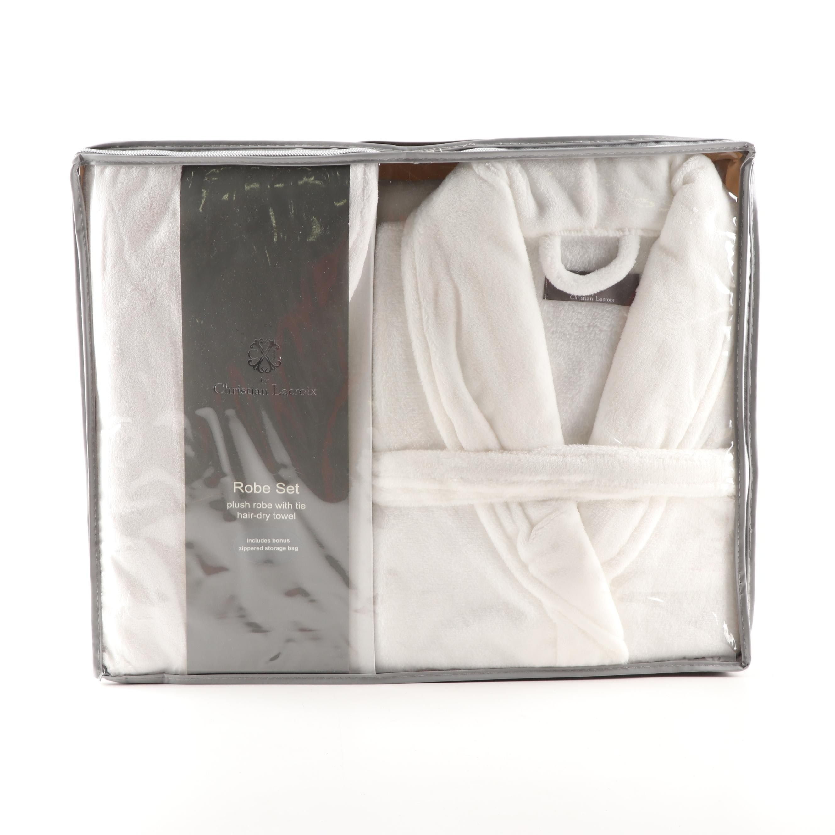Christian Lacroix White Plush Robe with Tie and Hair-Dry Towel Set