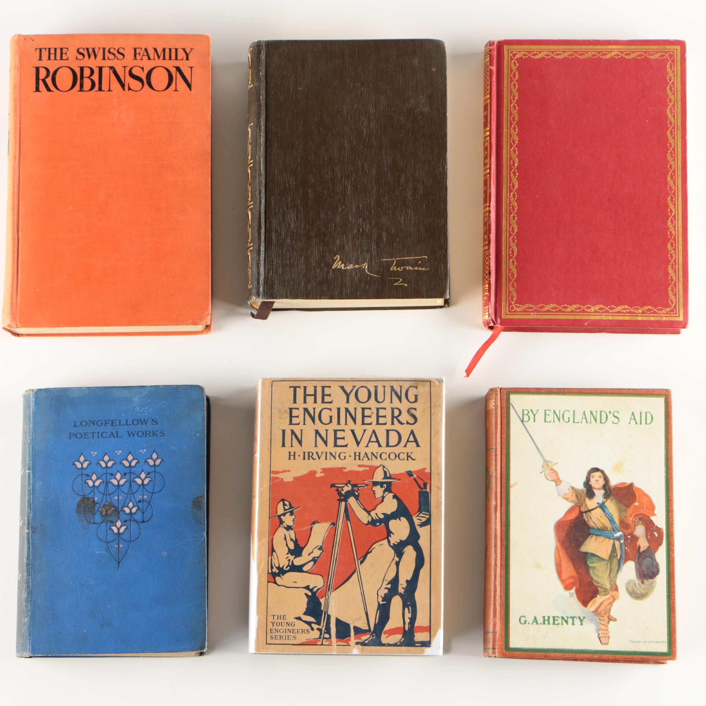 Vintage Books featuring Mark Twain and Henry Wadsworth Longfellow