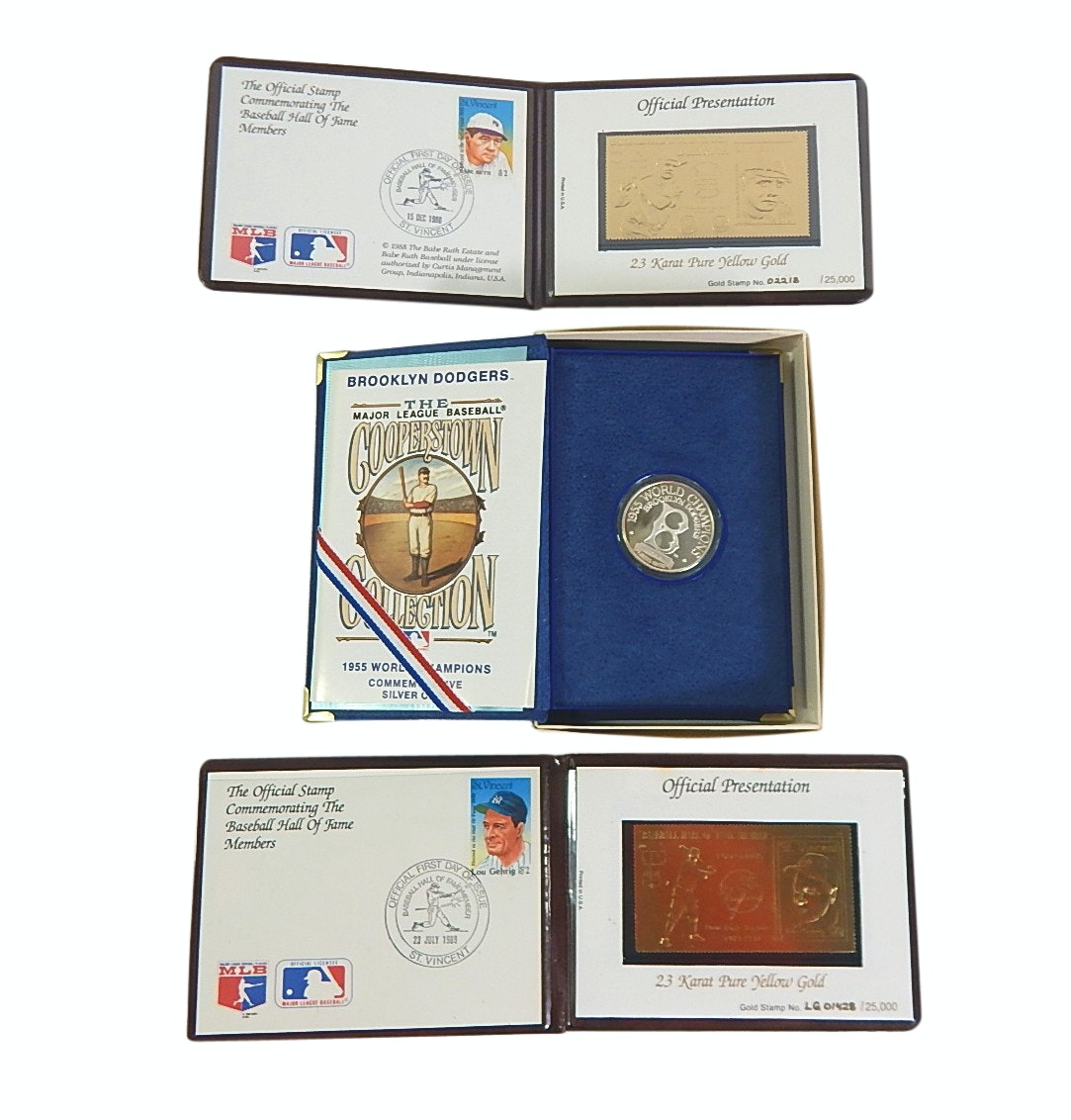 Lou Gehrig and Babe Ruth 23KT Gold Stamp and First Covers w/ Dodgers Silver Coin