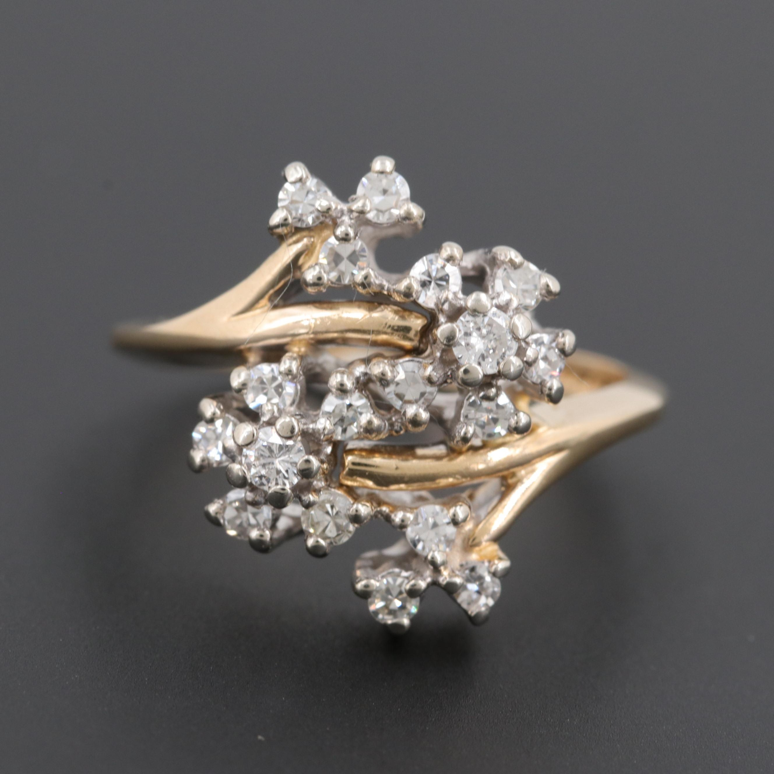 14K Yellow Gold Diamond Branching Floral Bypass Ring