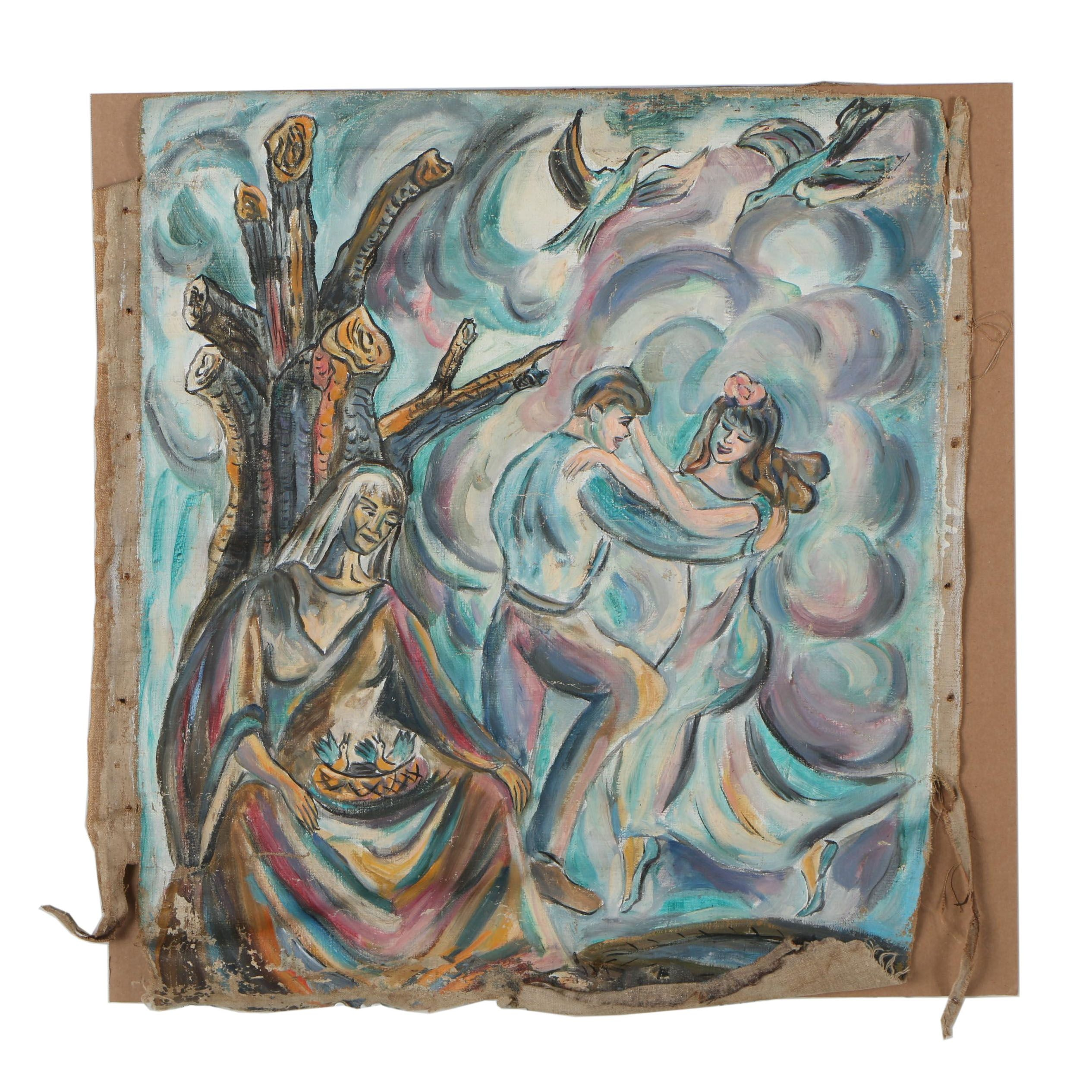 Late 20th Century Figural Oil Painting