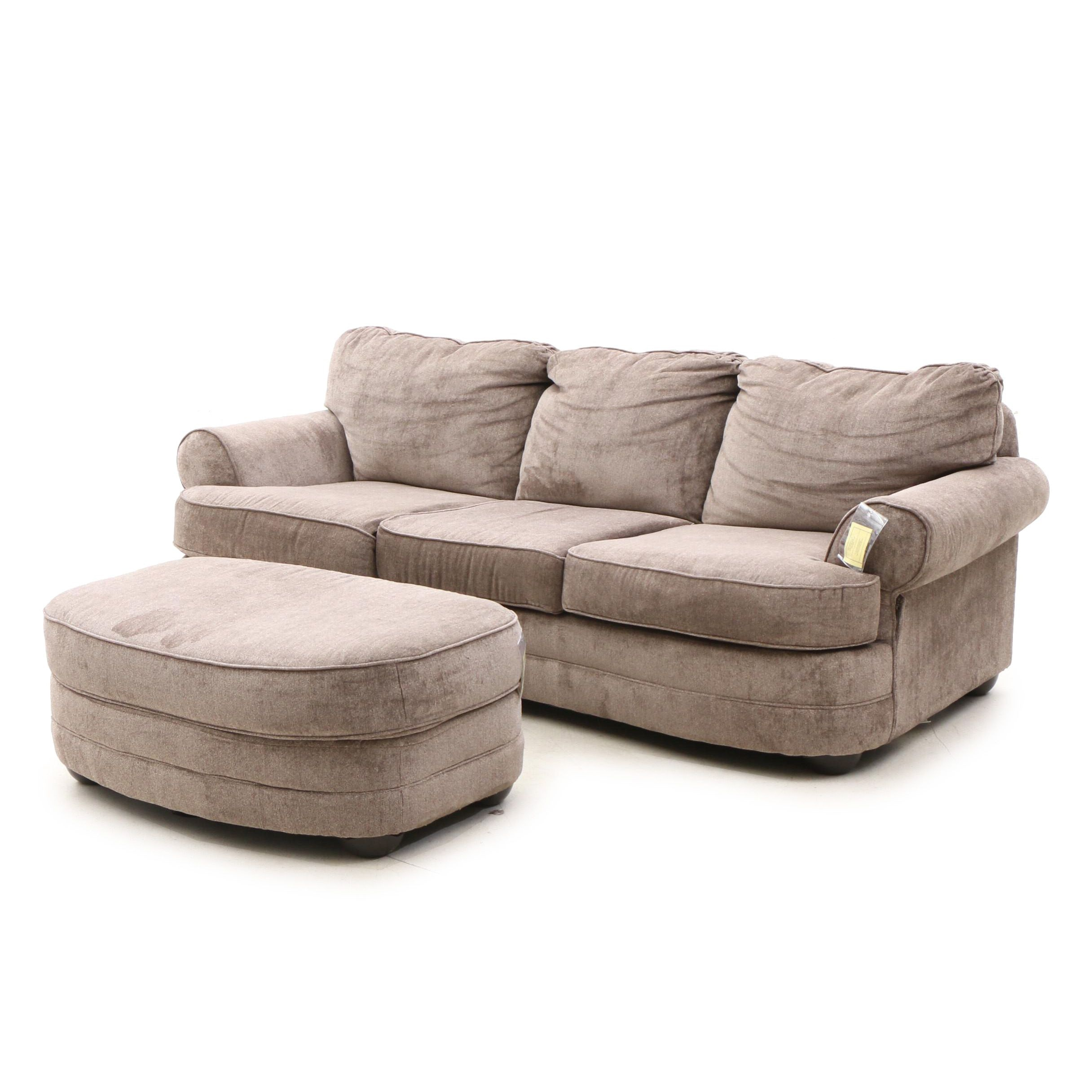 Contemporary Upholstered Sofa by United Furniture with Ottoman