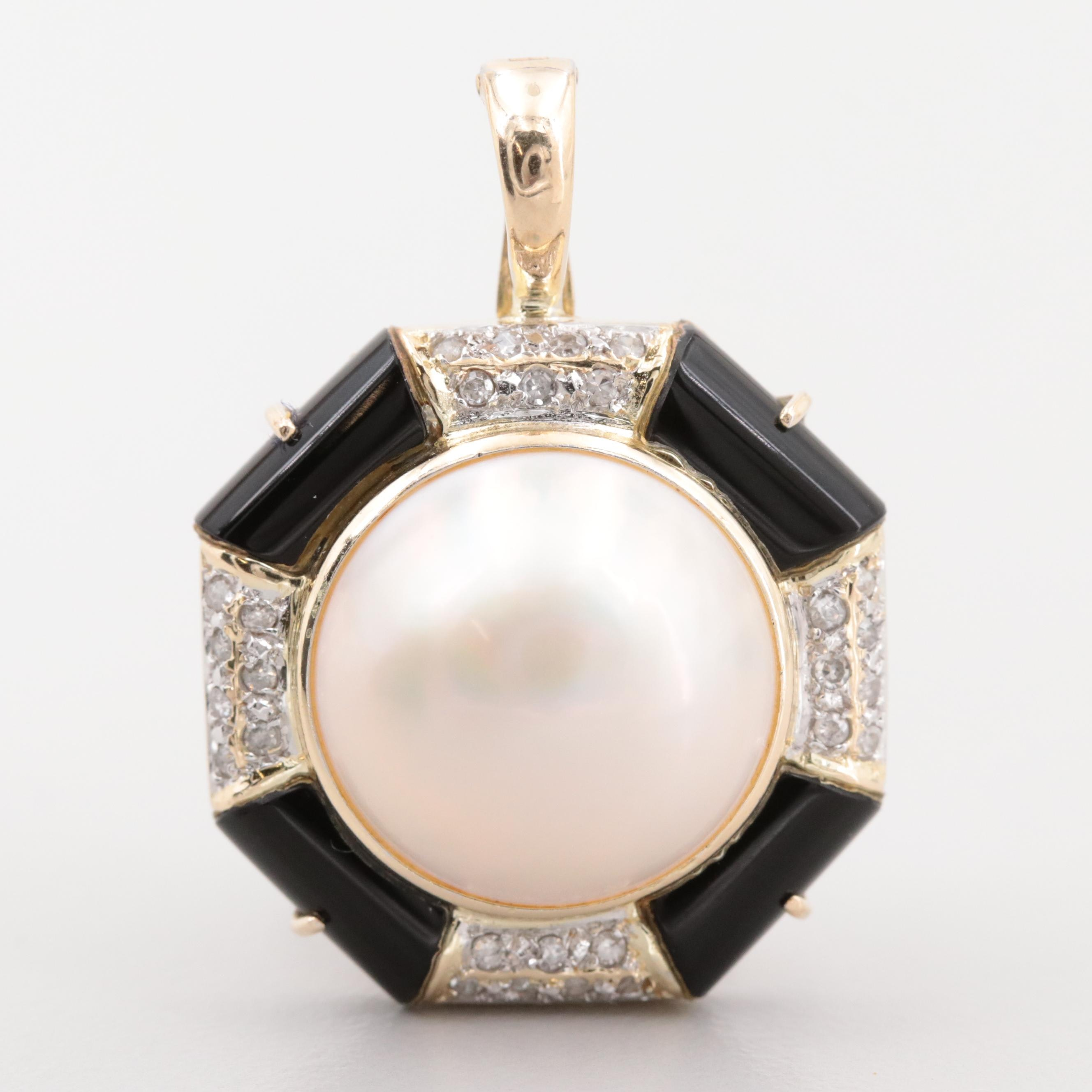 14K Yellow Gold Cultured Pearl, Obsidian and Diamond Enhancer Pendant