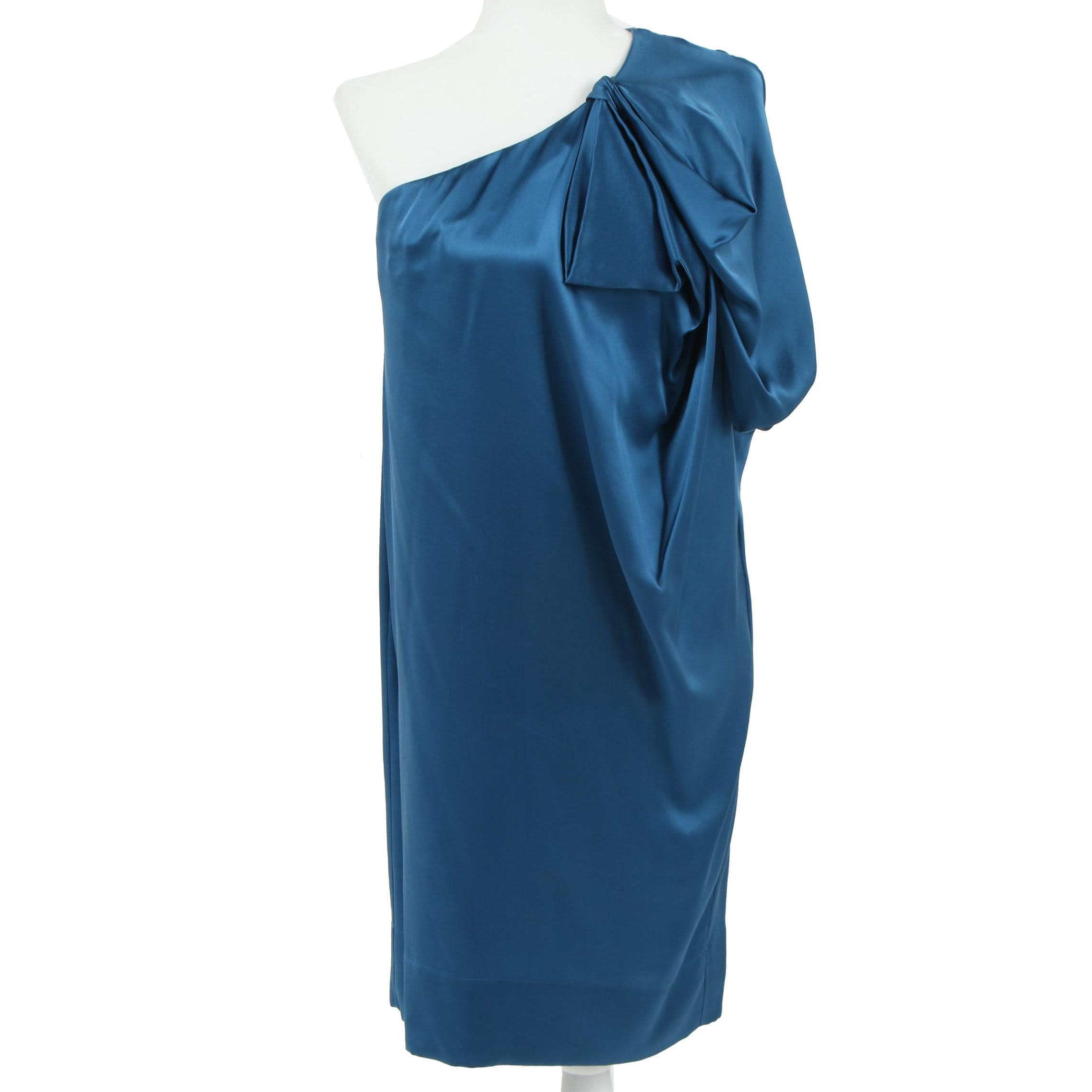 Stella McCartney Blue Silk One-Shoulder Cocktail Dress