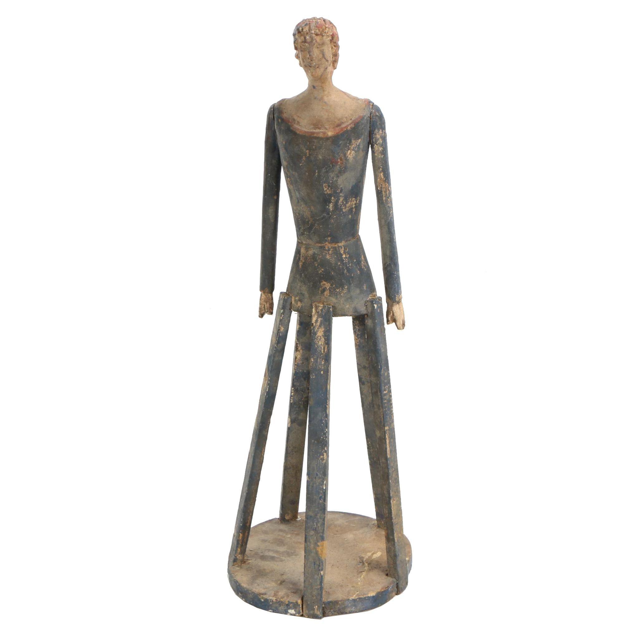 Folk Art Style Polychromed Wooden Santos Cage Doll