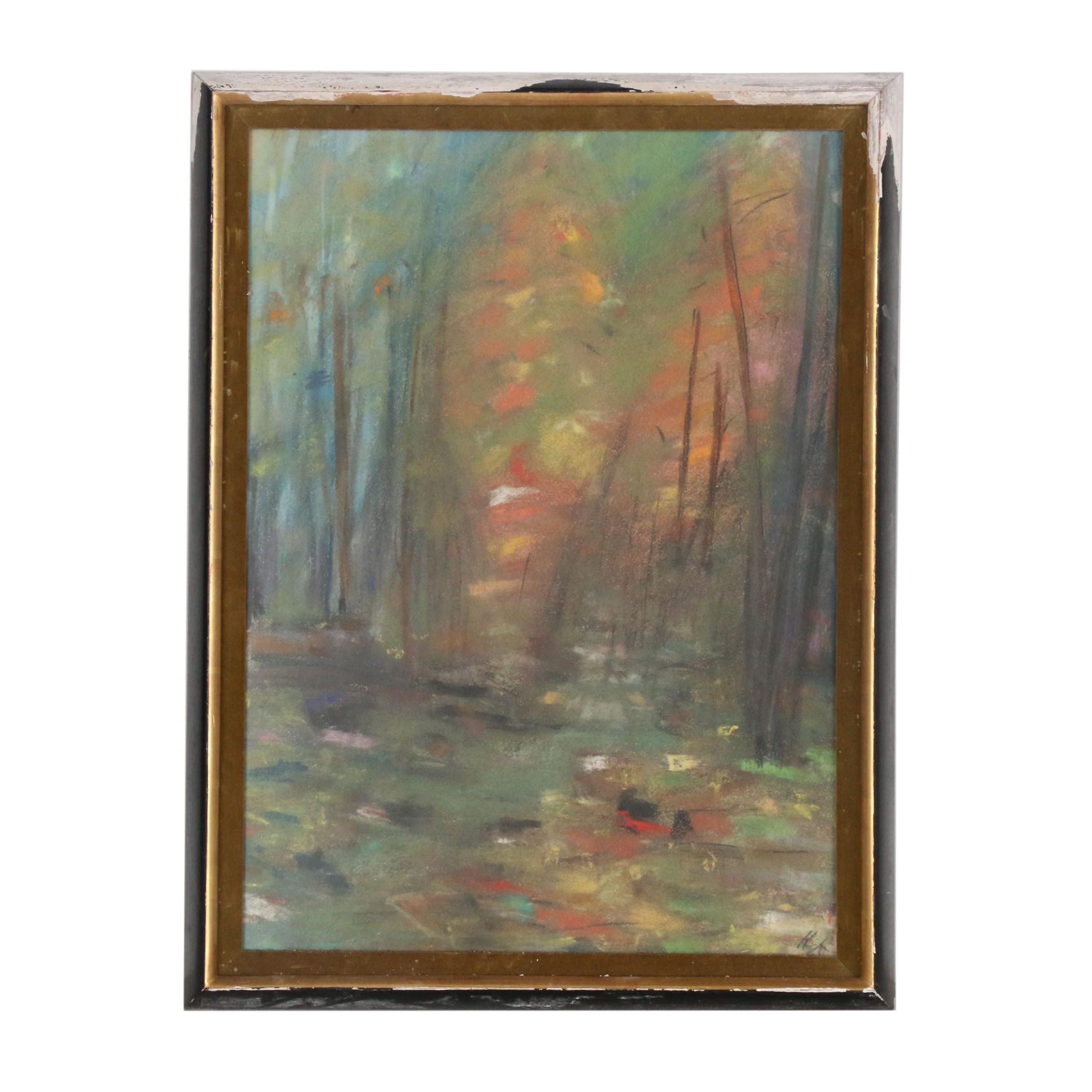 Mid 20th Century Abstract Pastel Drawing of Woodland