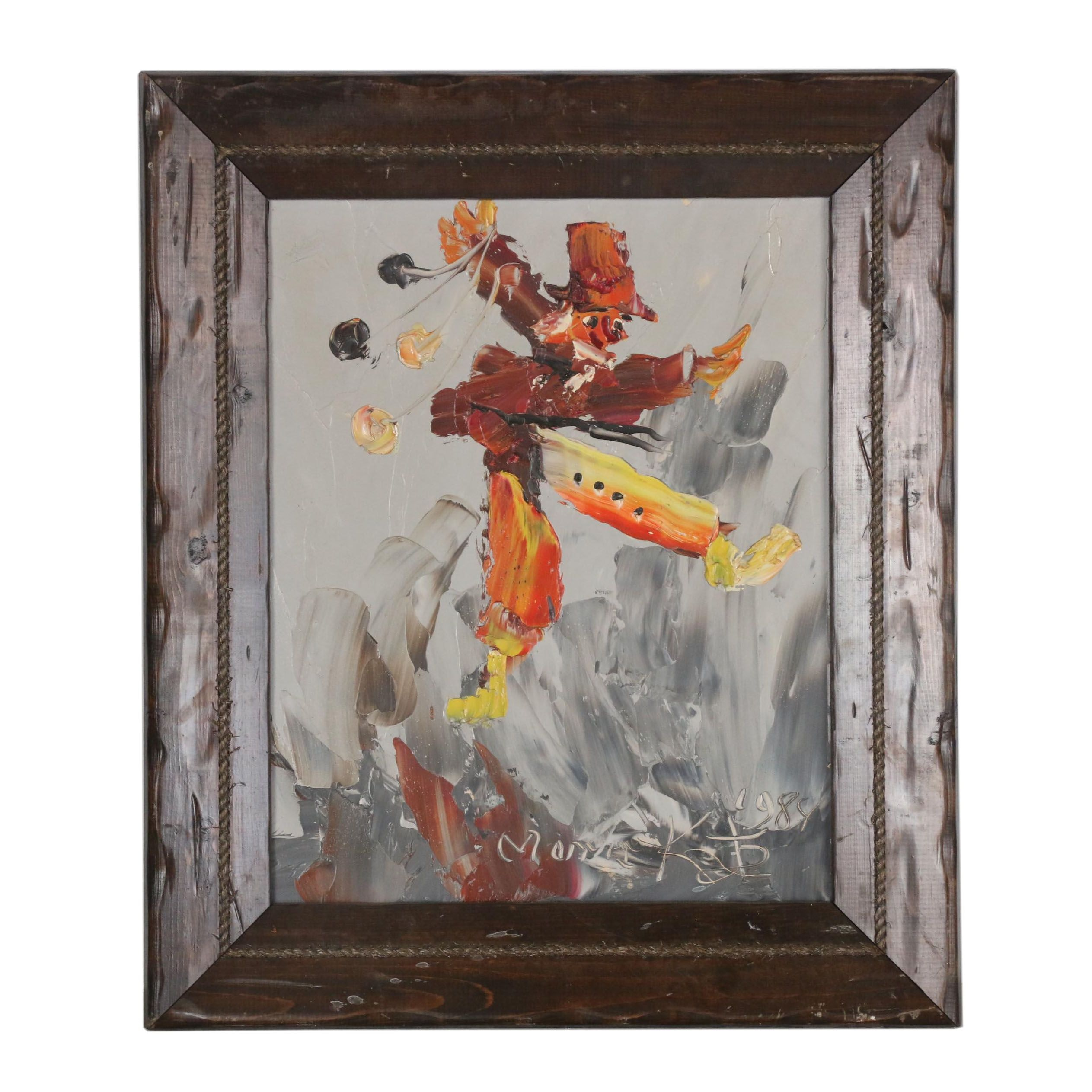 Morris Katz 1984 Abstract Oil Painting of Clown