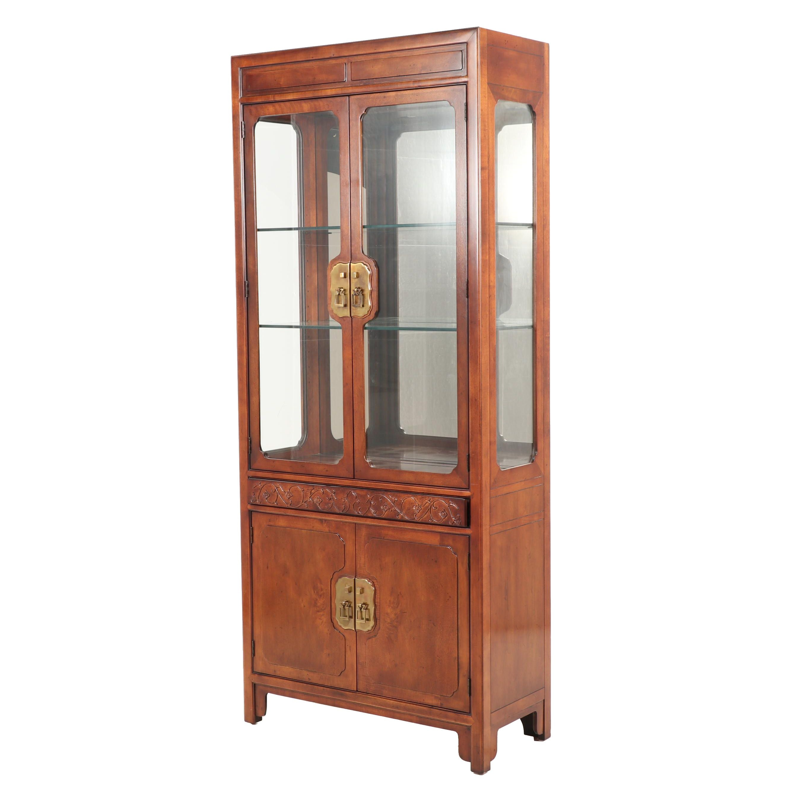 Chinese Inspired Henredon Lighted China Cabinet, Contemporary