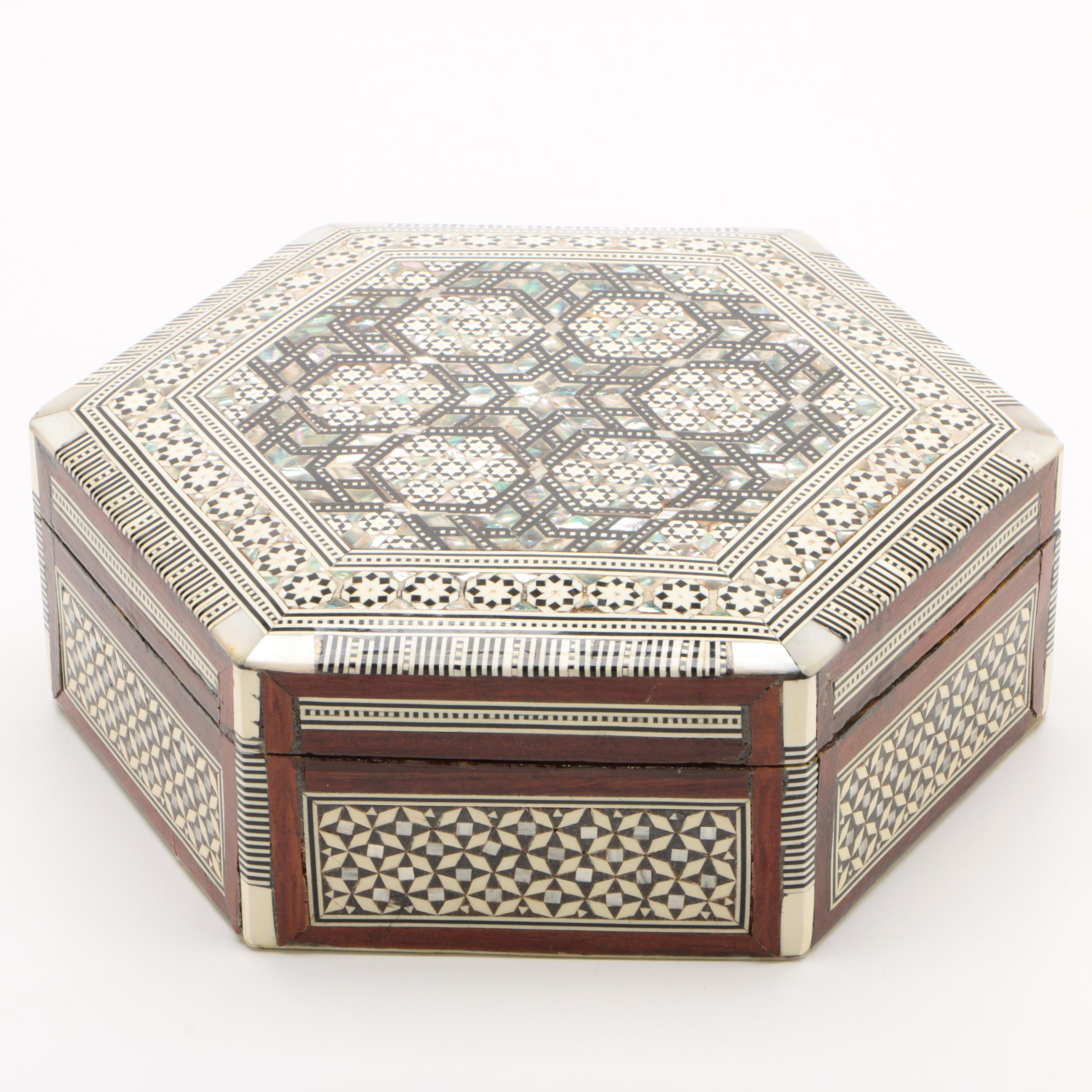 Moorish Hardwood, Mother-of-Pearl and Parquetry Box, 20th Century