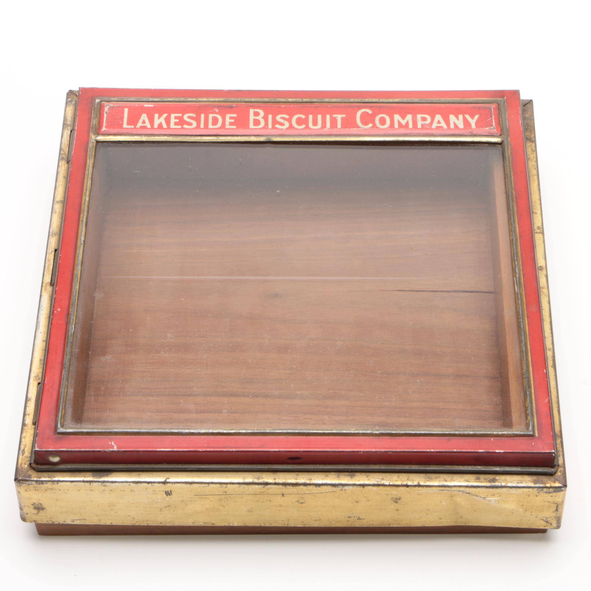 Lakeside Biscuit Company Store Display Tin with Custom-Made Walnut Base