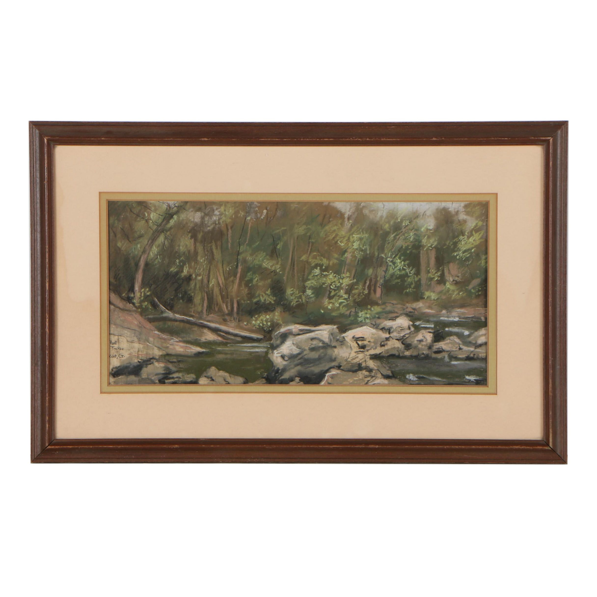 20th Century Landscape Pastel Drawing