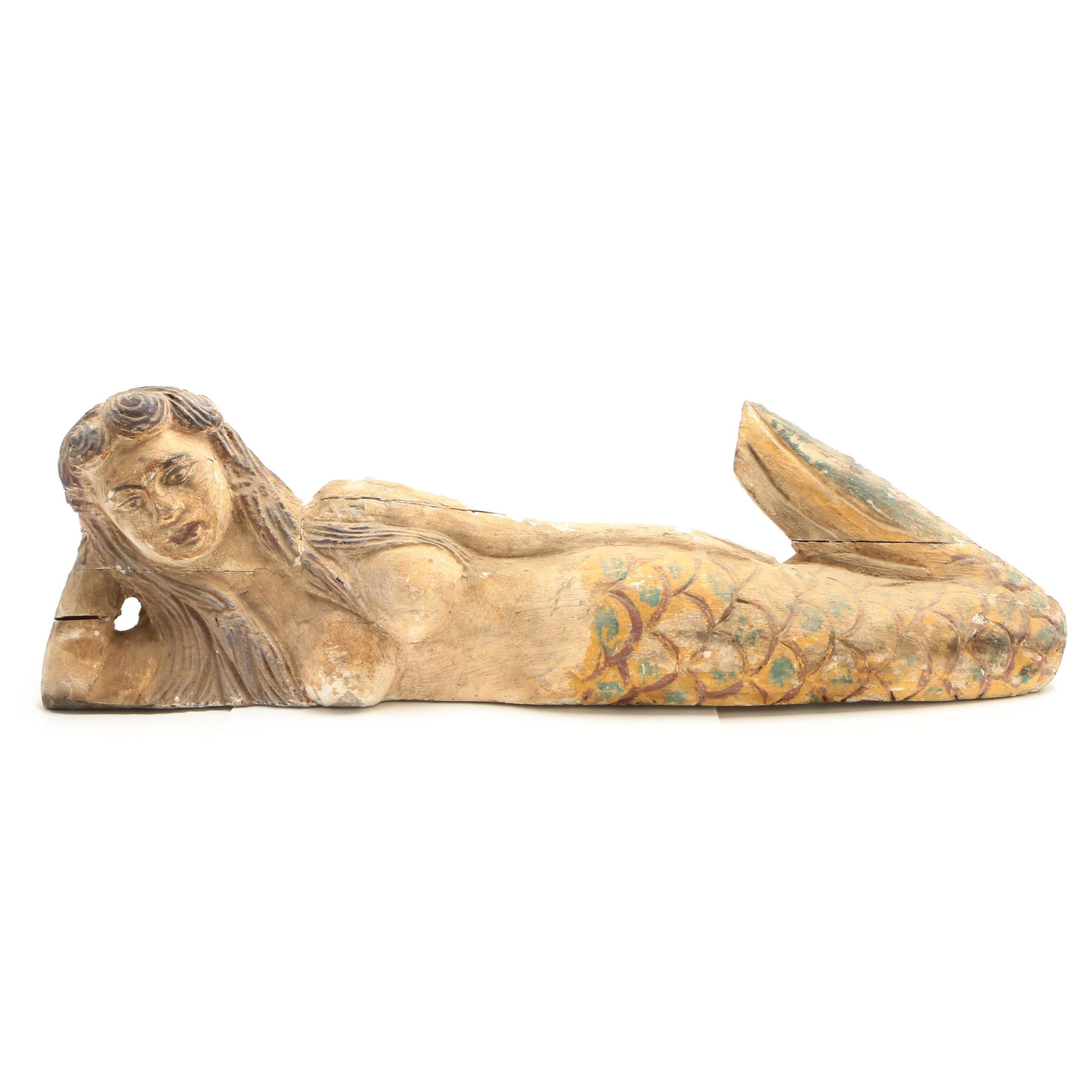 Folk Art Style Carved and Polychromed Wooden Mermaid Statuette