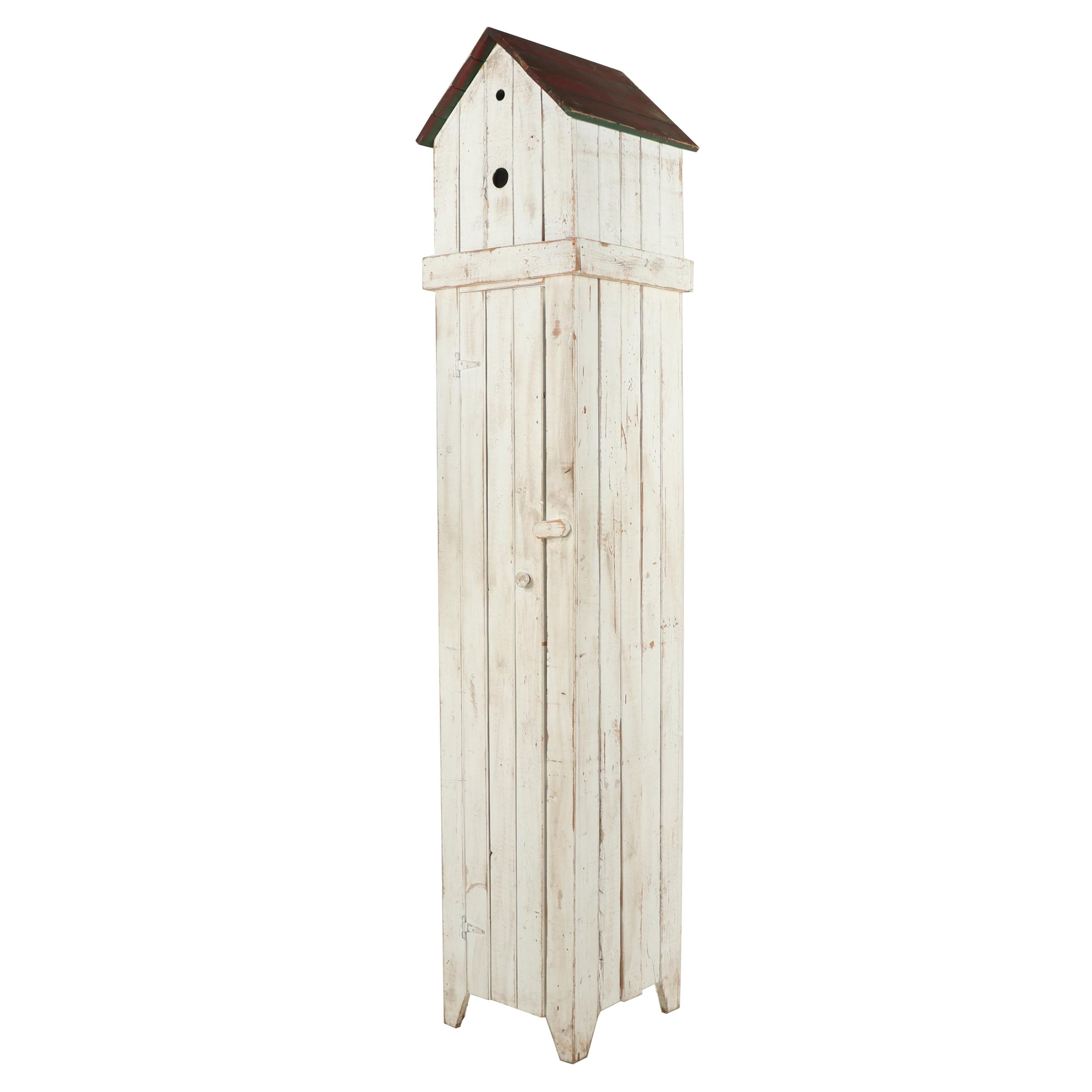 Distressed Finish Birdhouse Motif Lighted Cabinet, Contemporary