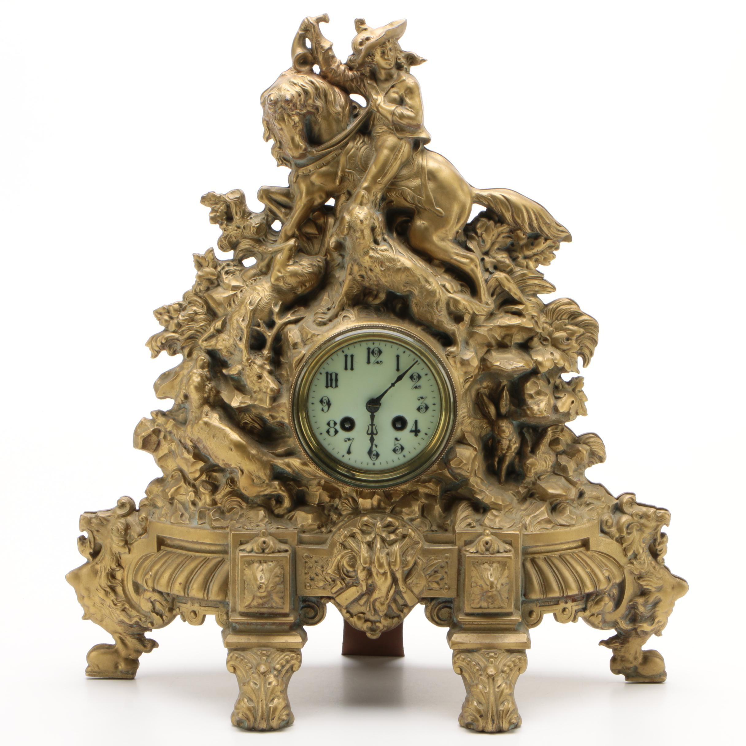 Japy Freres et Cie Gilt Cast Iron Hunting Scene Mantel Clock, Circa 1895