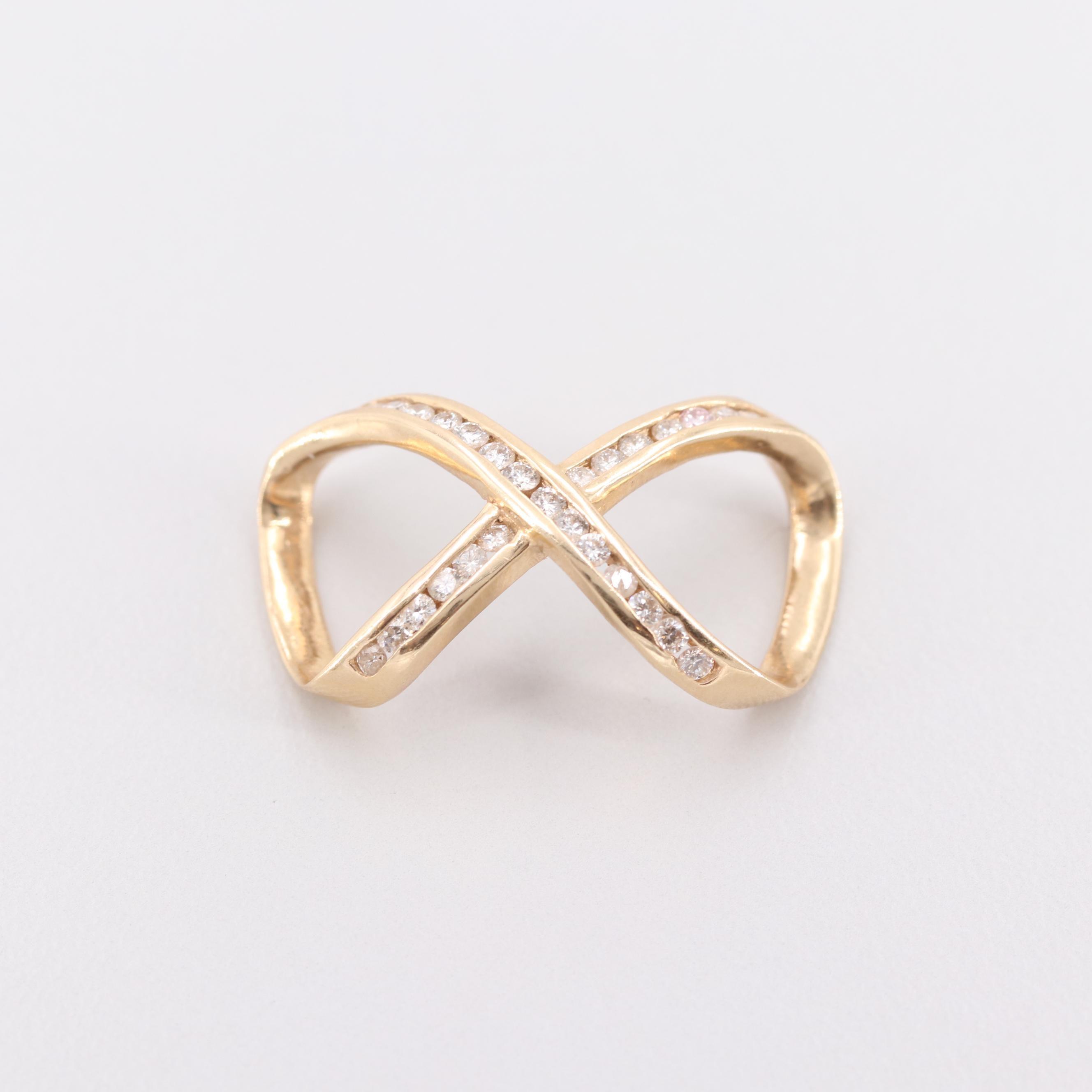 14K Yellow Gold Diamond Infinity Symbol Slide Pendant
