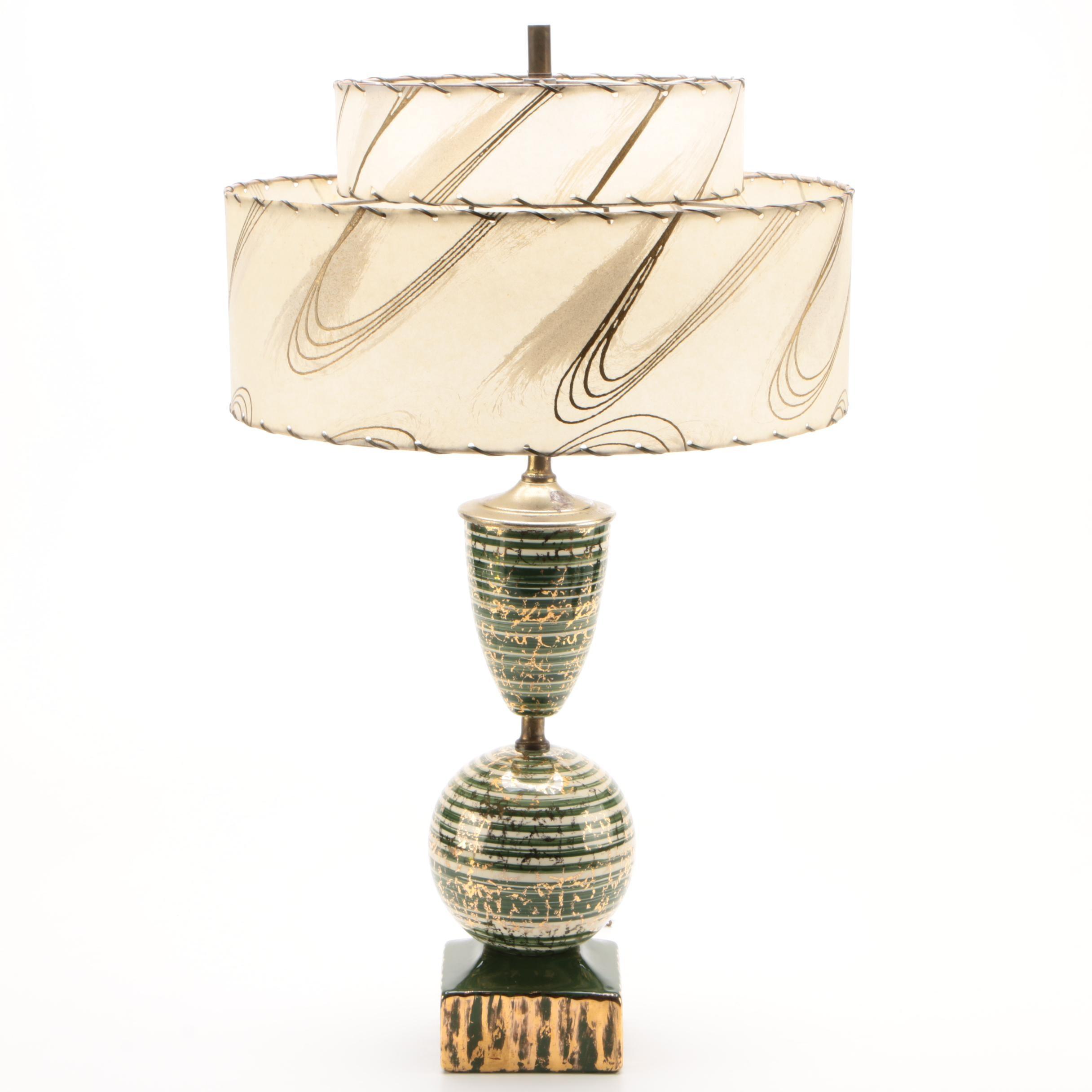 Mid Century Modern Ceramic Table Lamp with Fiberglass Shade