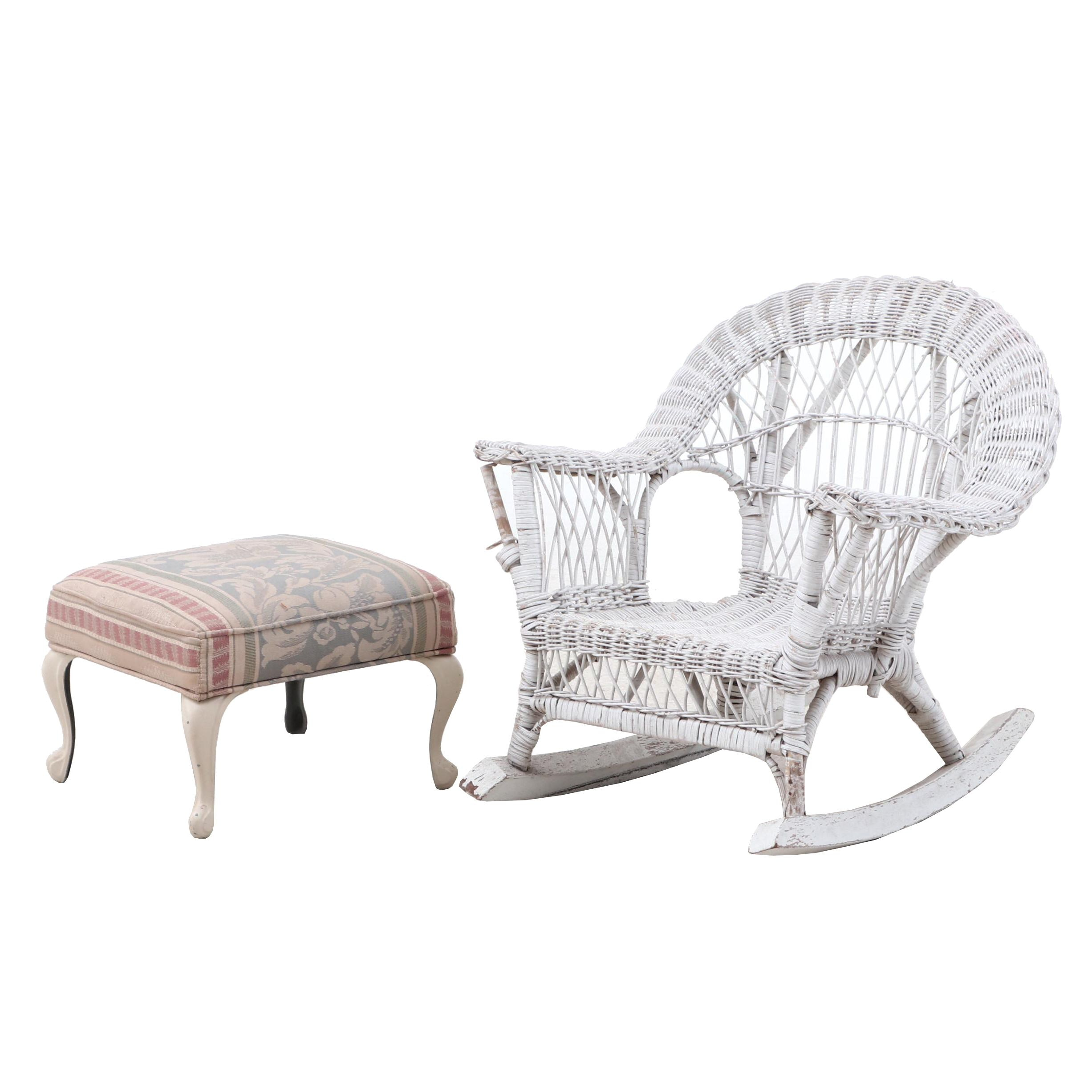 Vintage Miniature Wicker Rocking Chair and Ottoman