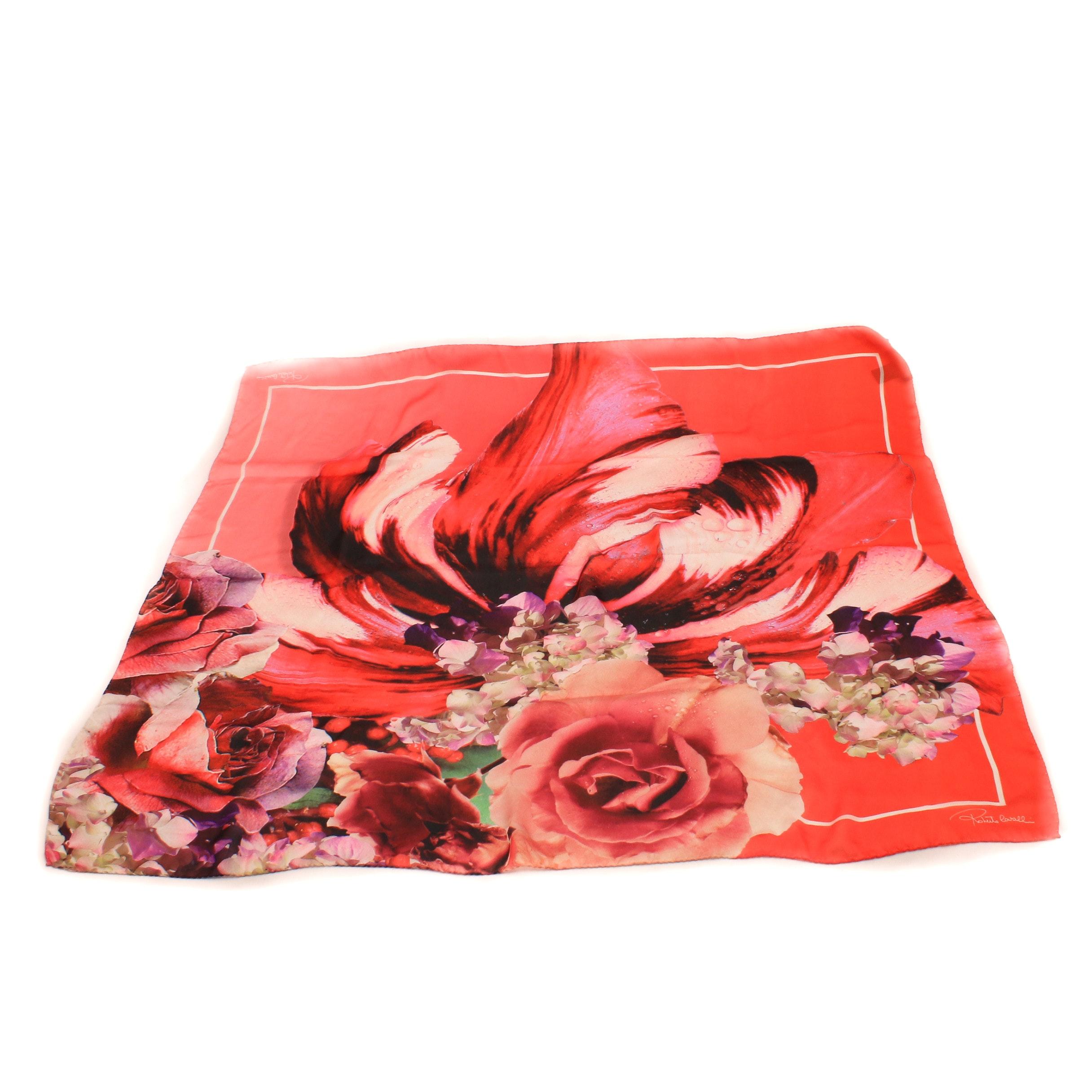 "Roberto Cavalli ""Roses"" Multicolor Silk Scarf"