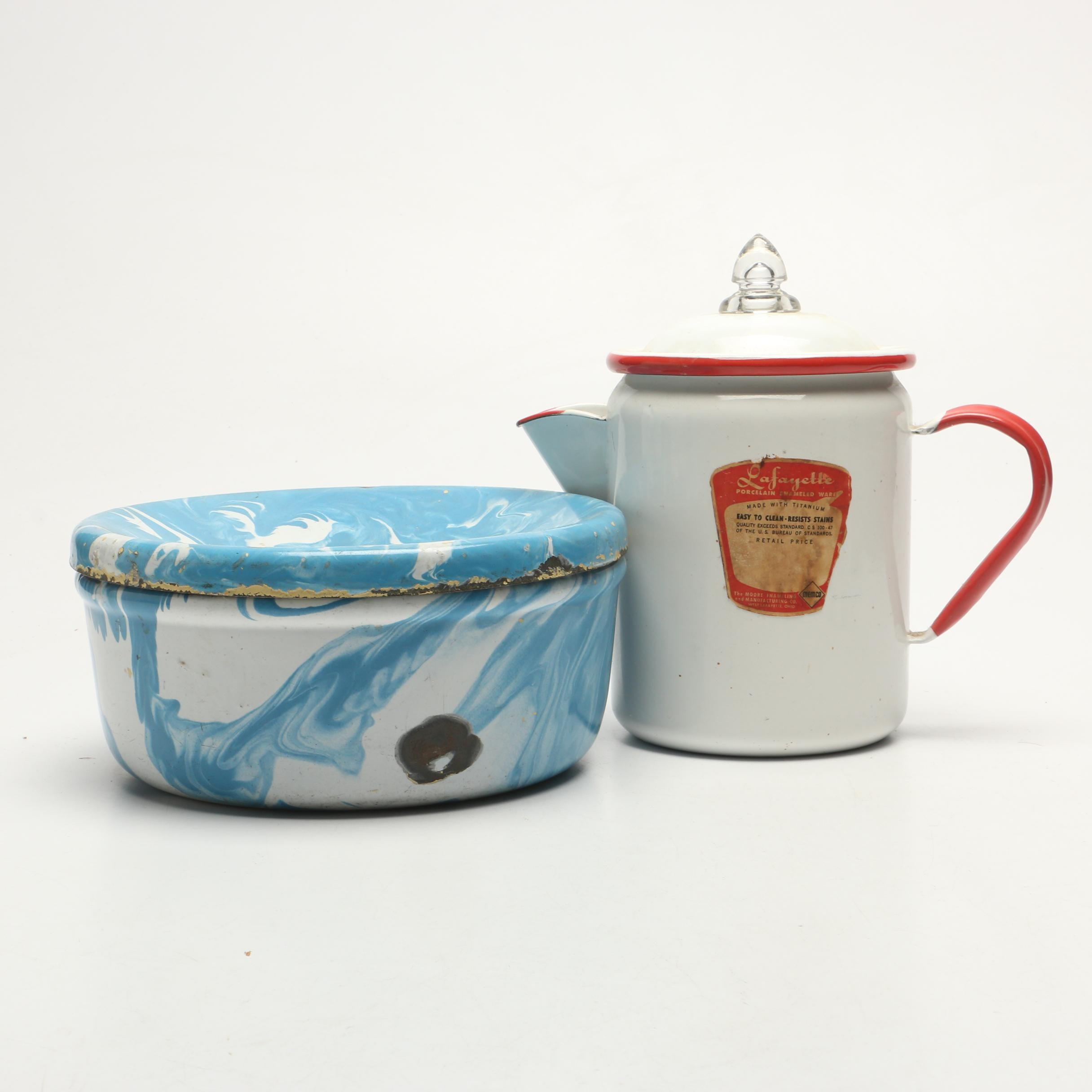 Enamelware Teapot and Spittoon Including Lafayette Moore Enameling Co.