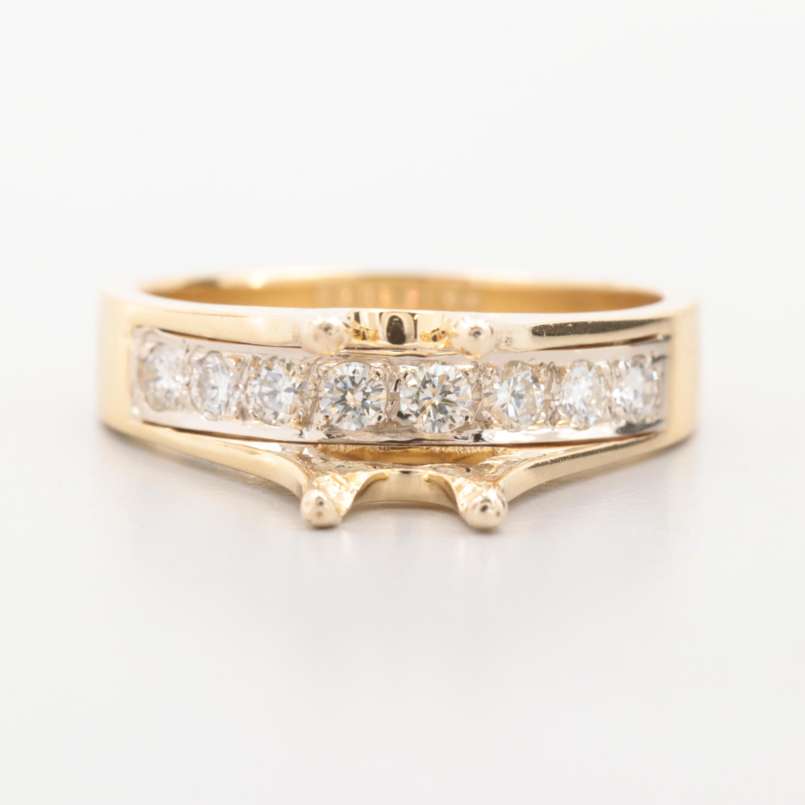 18K Yellow Gold Diamond Ring with 14K Yellow Gold Semi Mount
