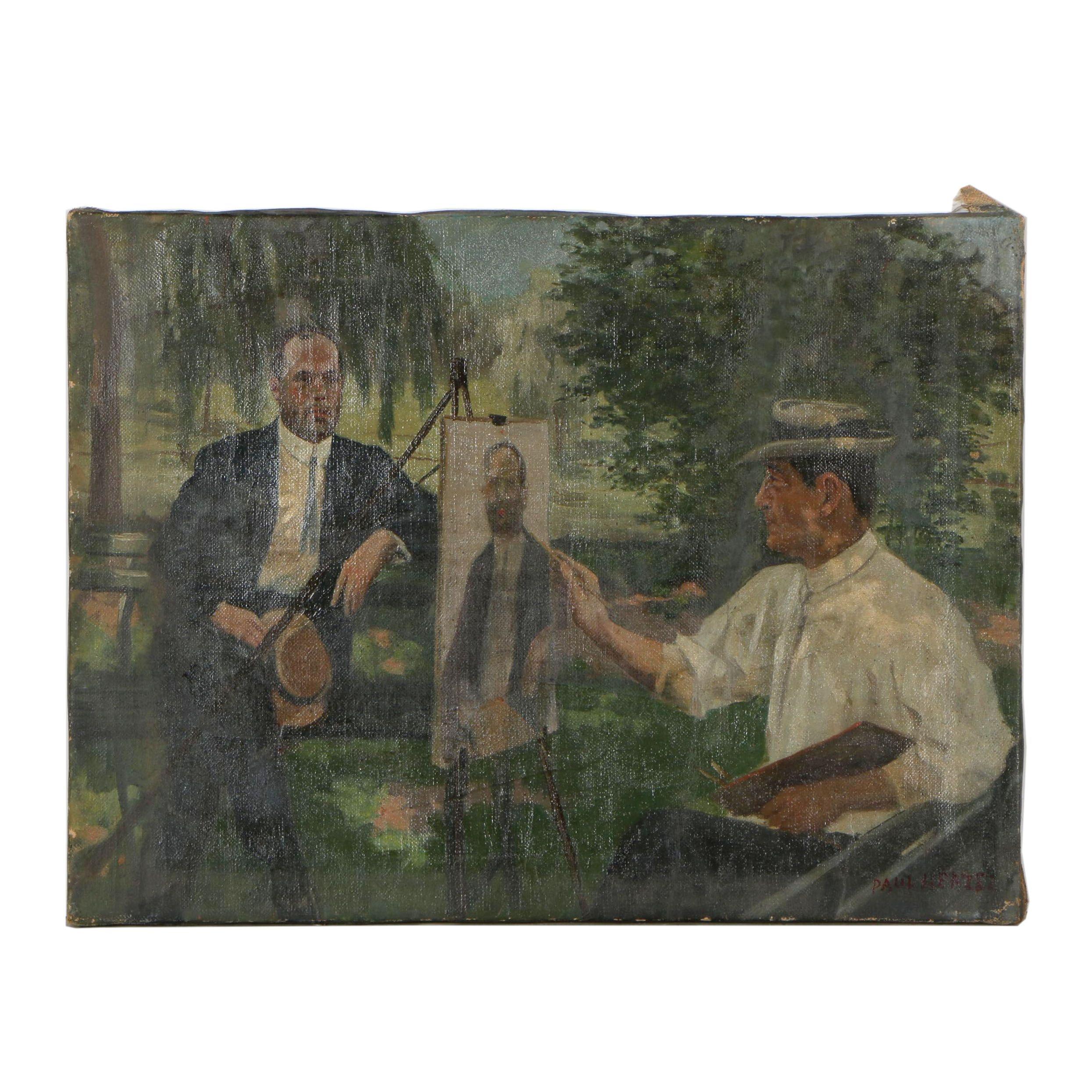 Paul Herzel Portrait Oil Painting of Artist and Sitter