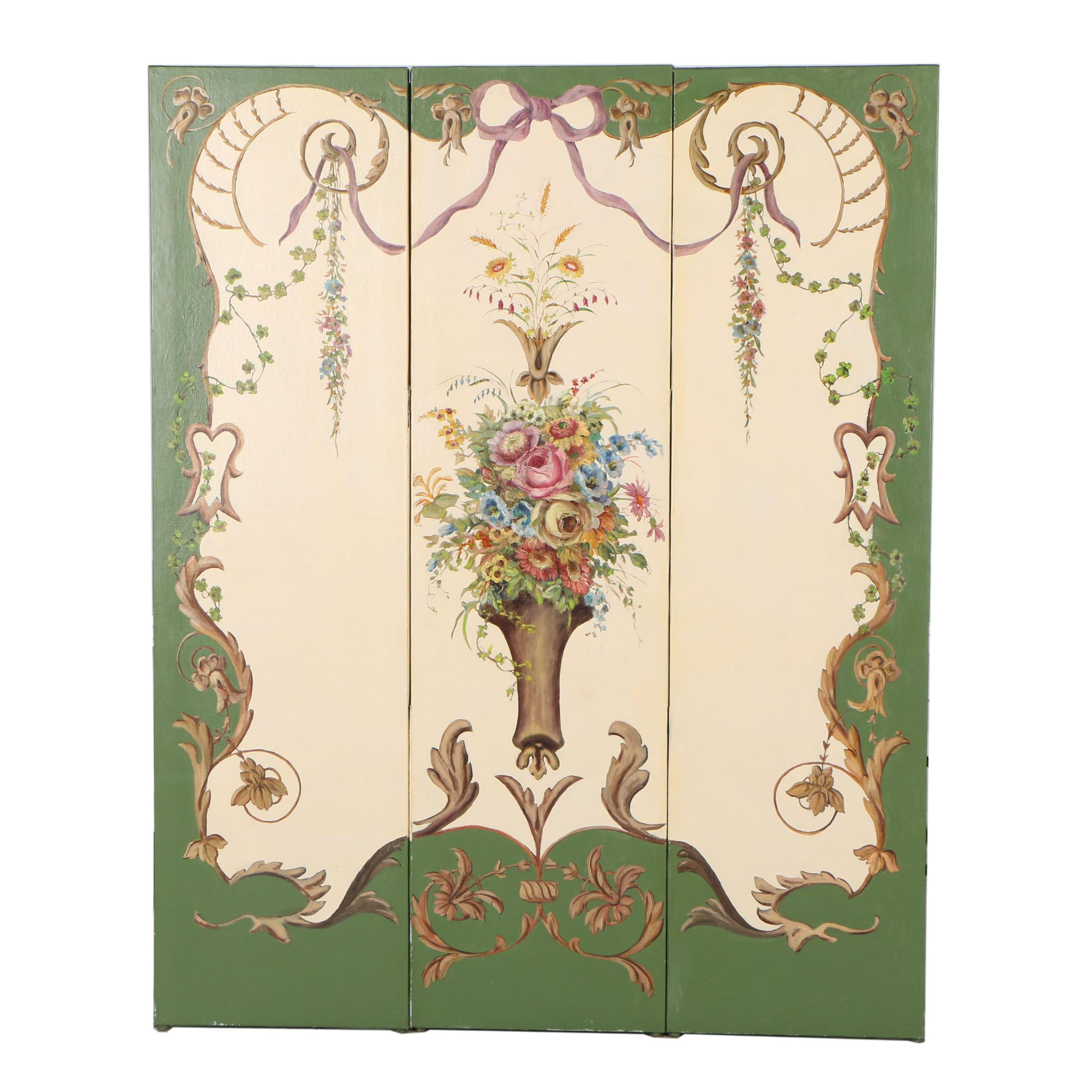 Rococo Style Hand-Painted Canvas Room Divider, 20th Century