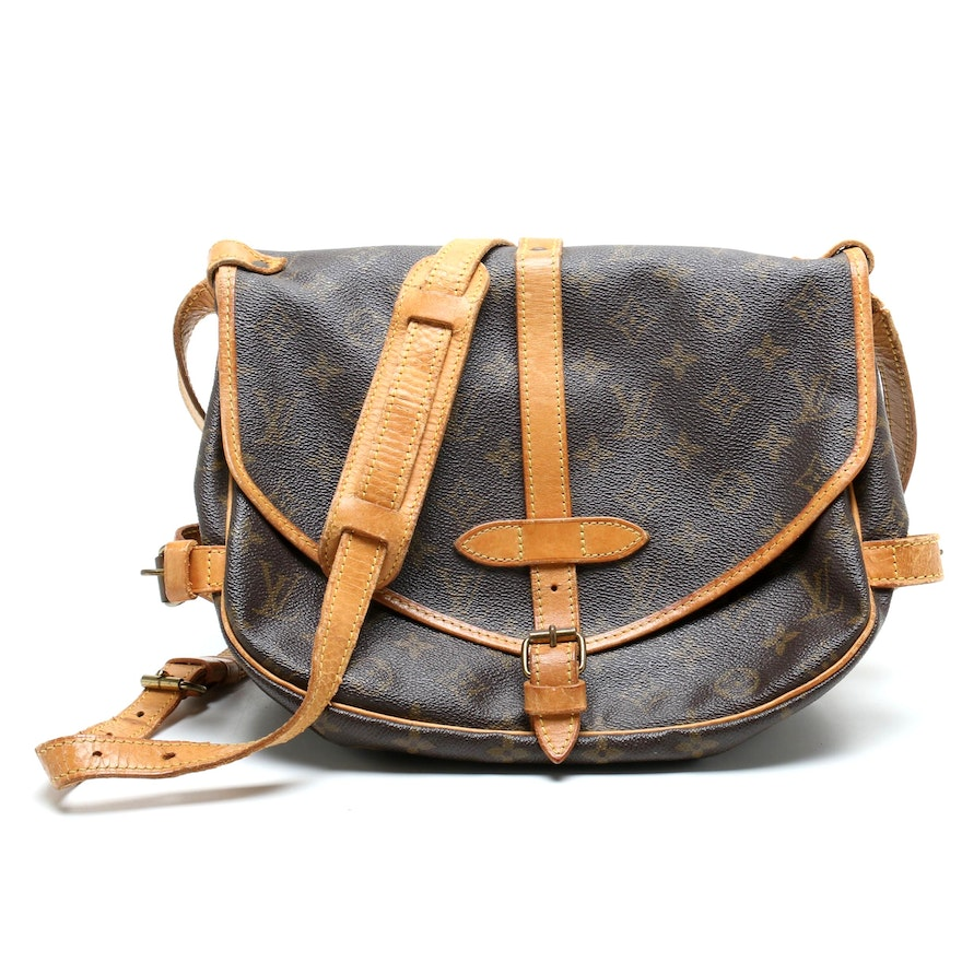 Louis Vuitton Saumur Coated Canvas Monogram Saddle Bag