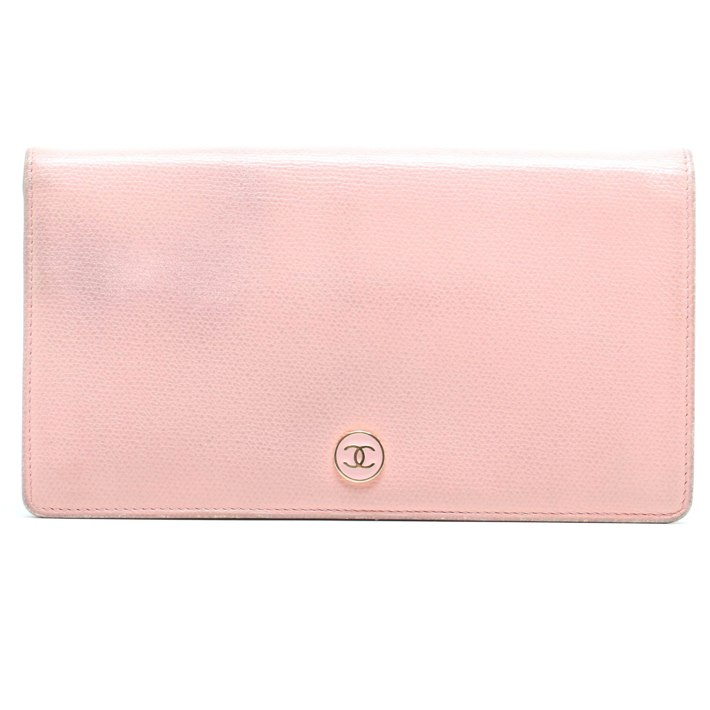 Chanel Blush Peach Caviar Leather Long Bifold Wallet