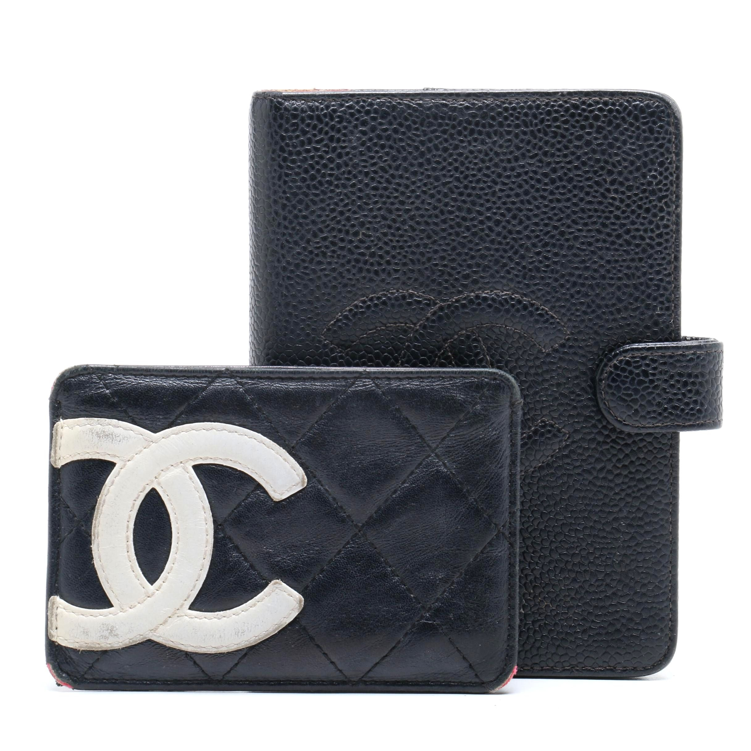 Chanel Black Caviar Leather Agenda Book and Quilted Lambskin Cardholder