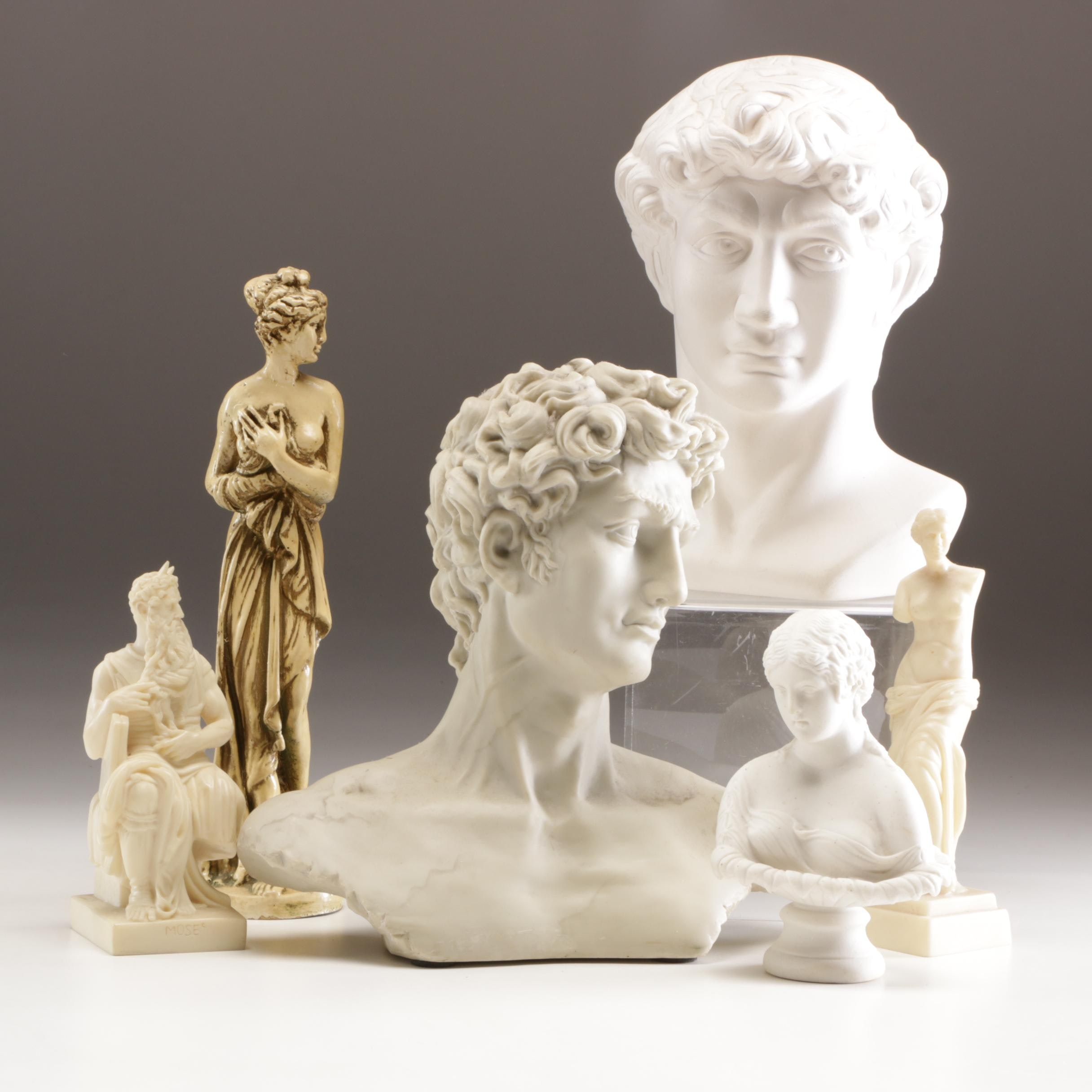 Signed Ceramic Bust and Grouping of Resin, Wood and Composite Figurines
