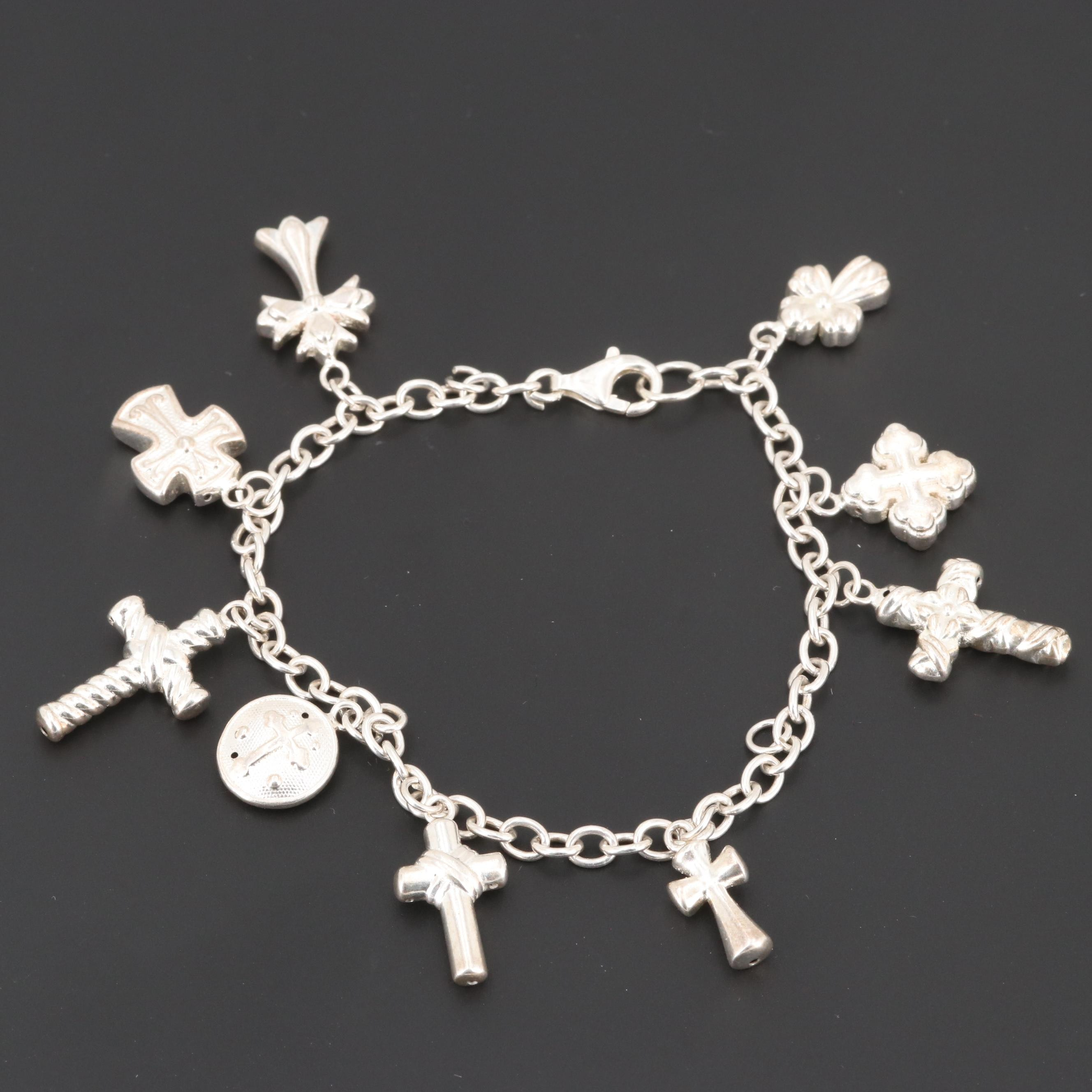 Sterling Silver Bracelet with Silver Tone Cross Charms