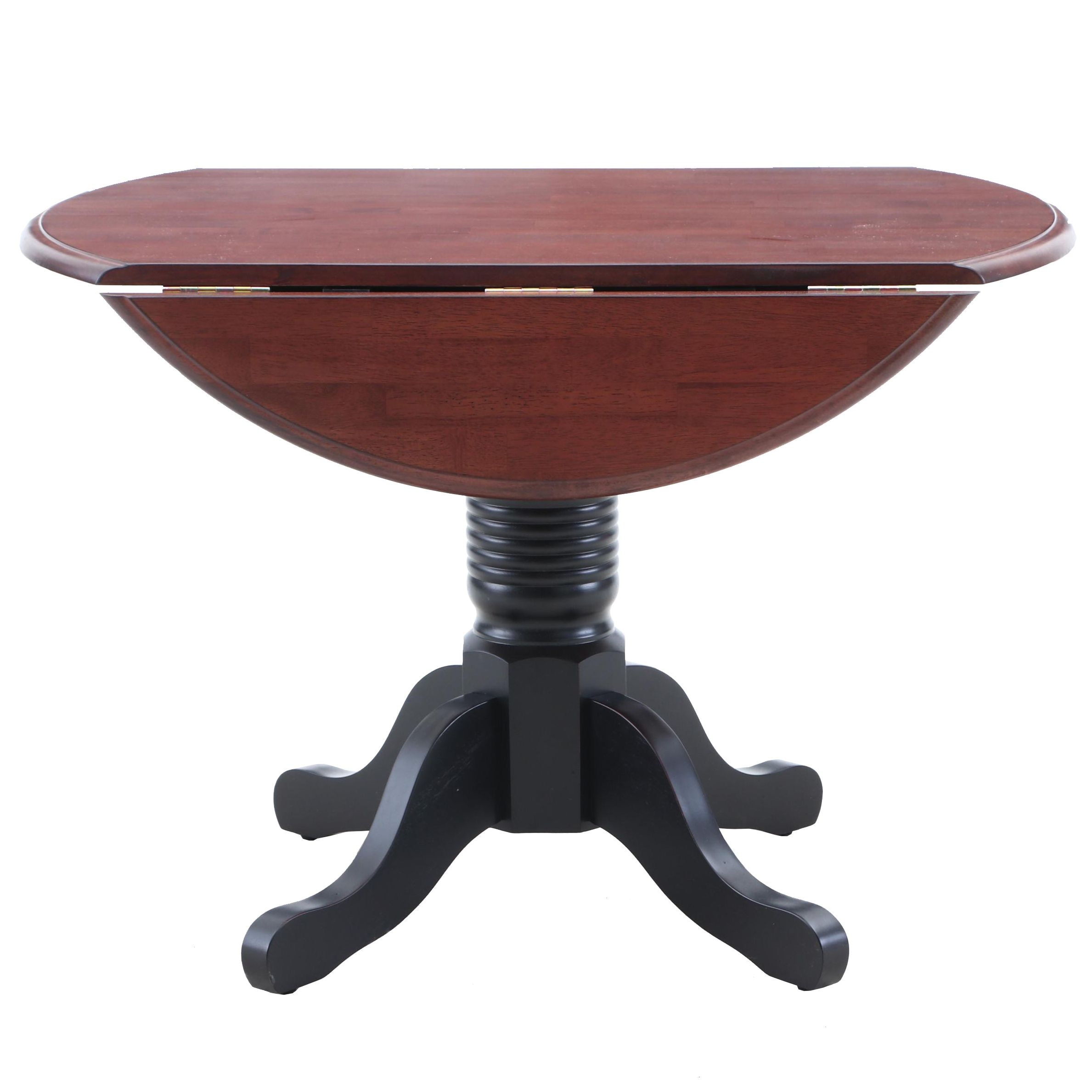 Contemporary Cherry Pedestal Drop Leaf Dinette Table by A America