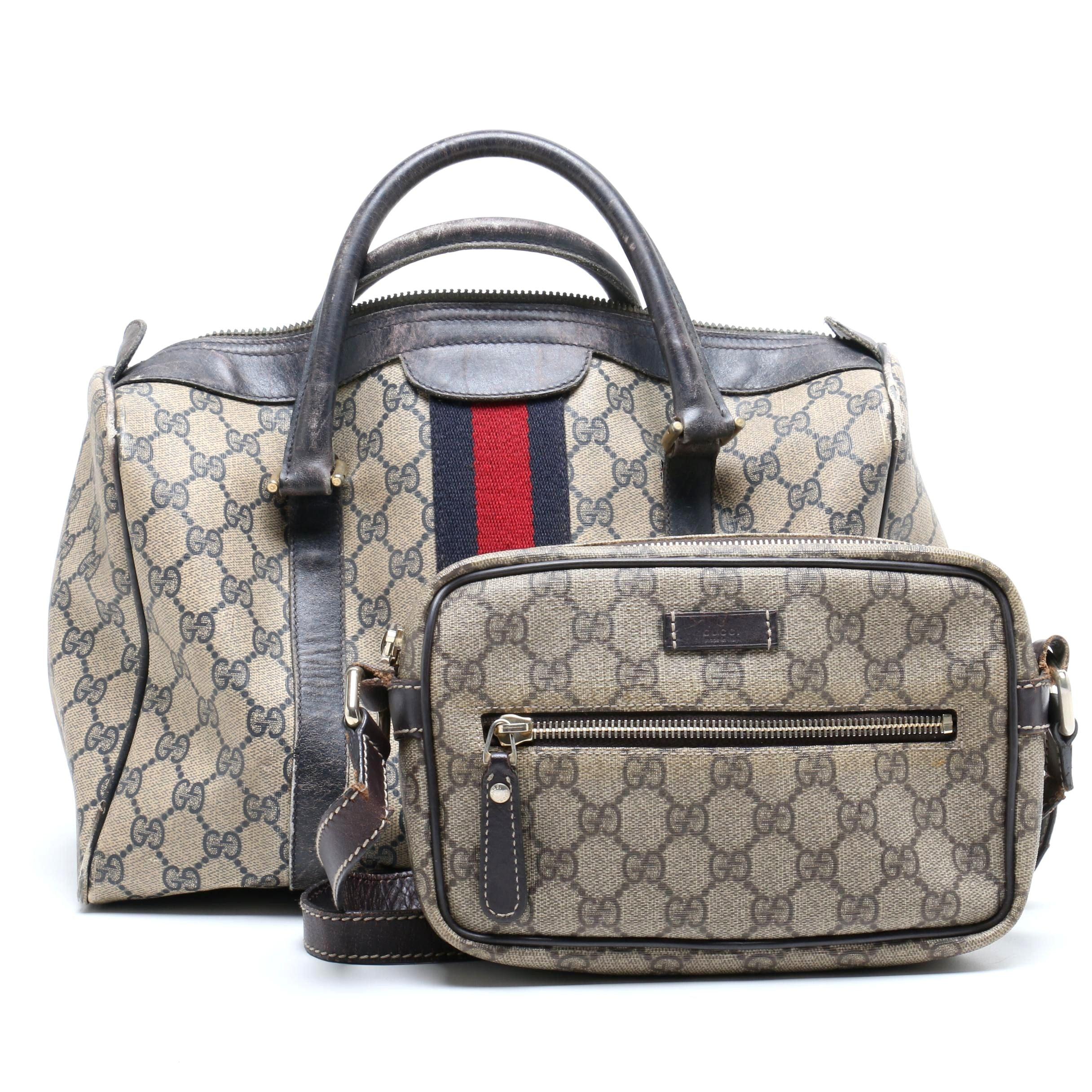 Gucci GG Supreme Canvas Web Stripe Bag and Gucci Supreme Canvas Crossbody