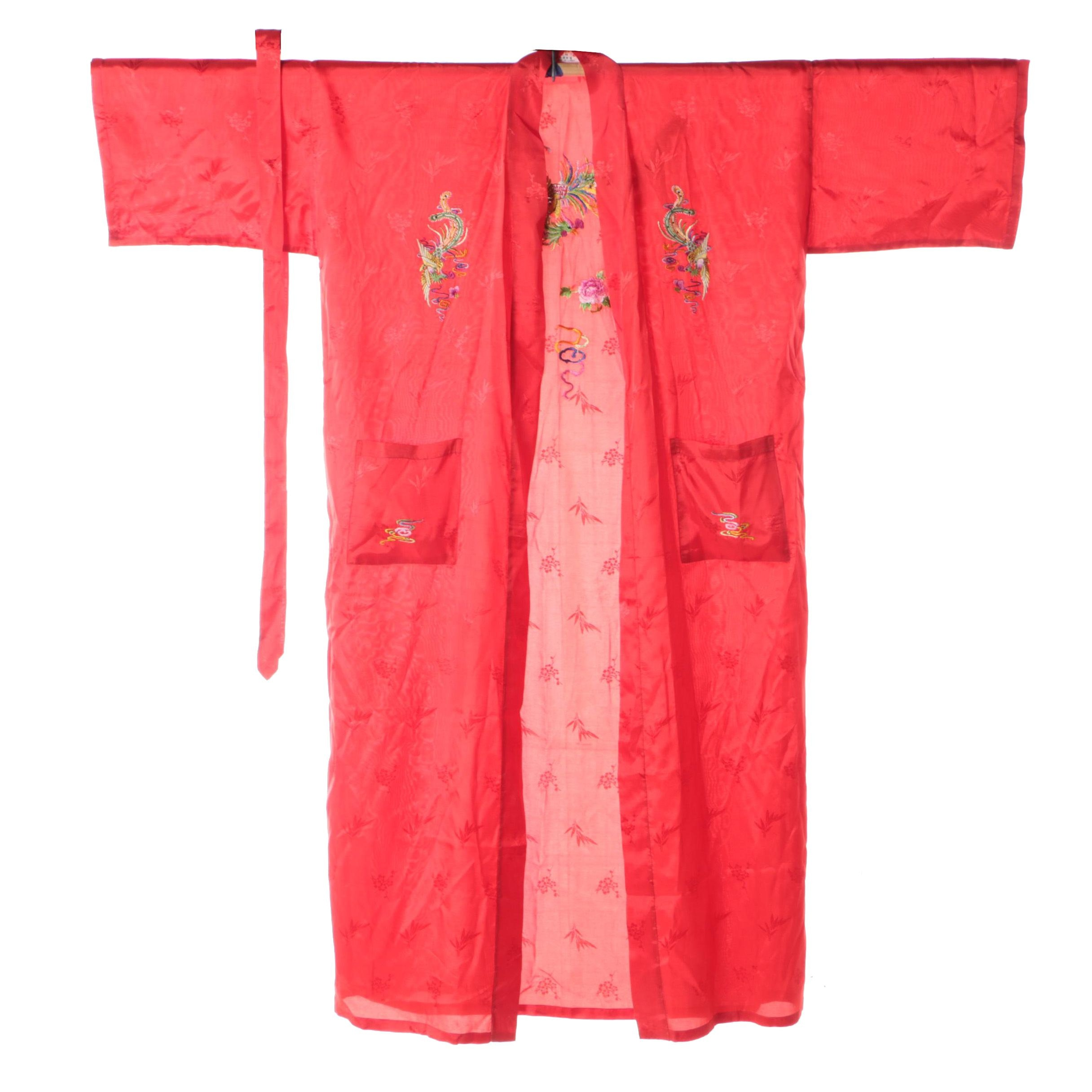 Golden Bee Red Embroidered Kimono Style Robe