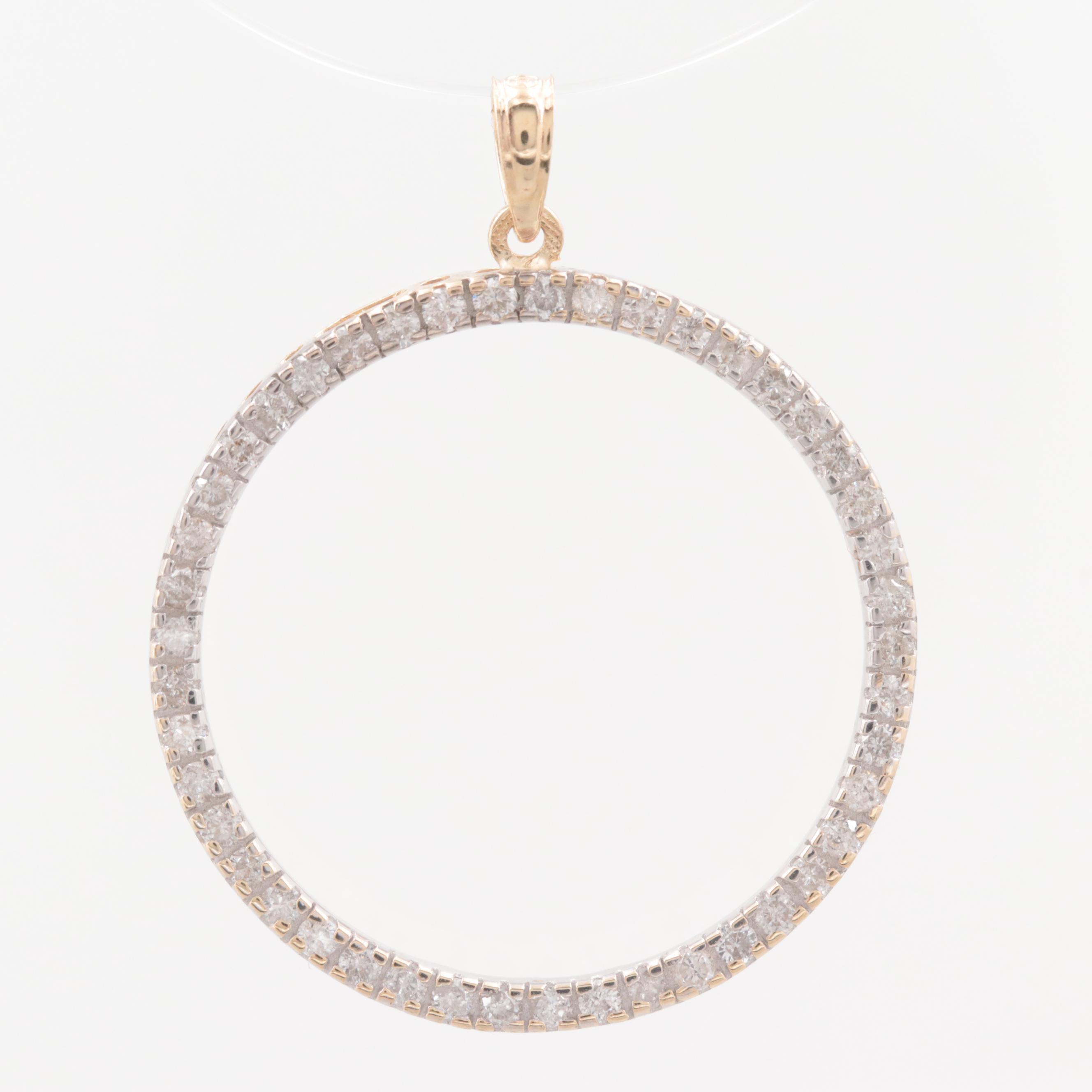 14K Yellow Gold 0.90 CTW Diamond Open Circle Eternity Pendant