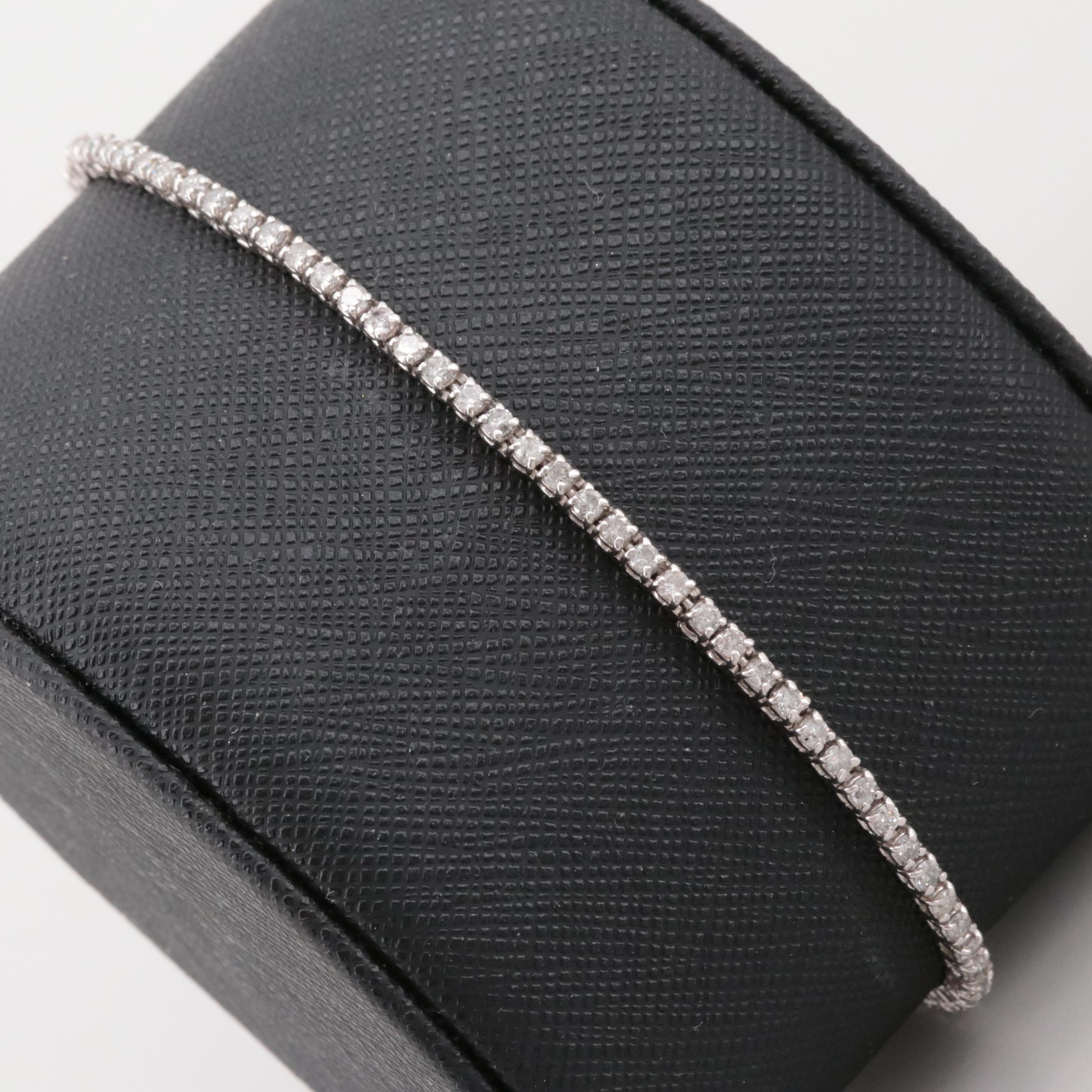 14K White Gold 0.95 CTW Diamond Tennis Bracelet
