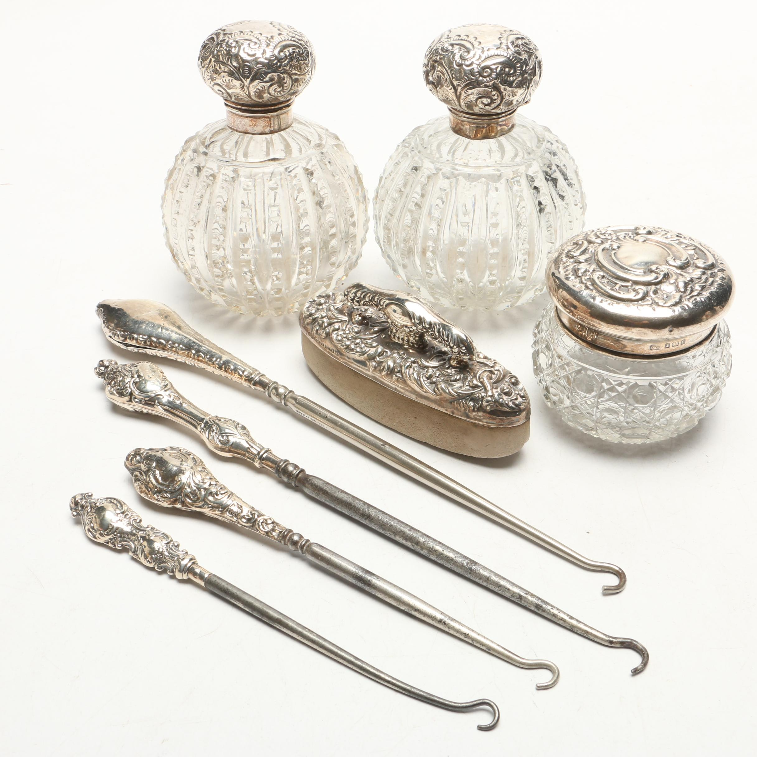 S & A Birmingham Sterling Silver Perfume Bottles and Vanity, Early 20th Century