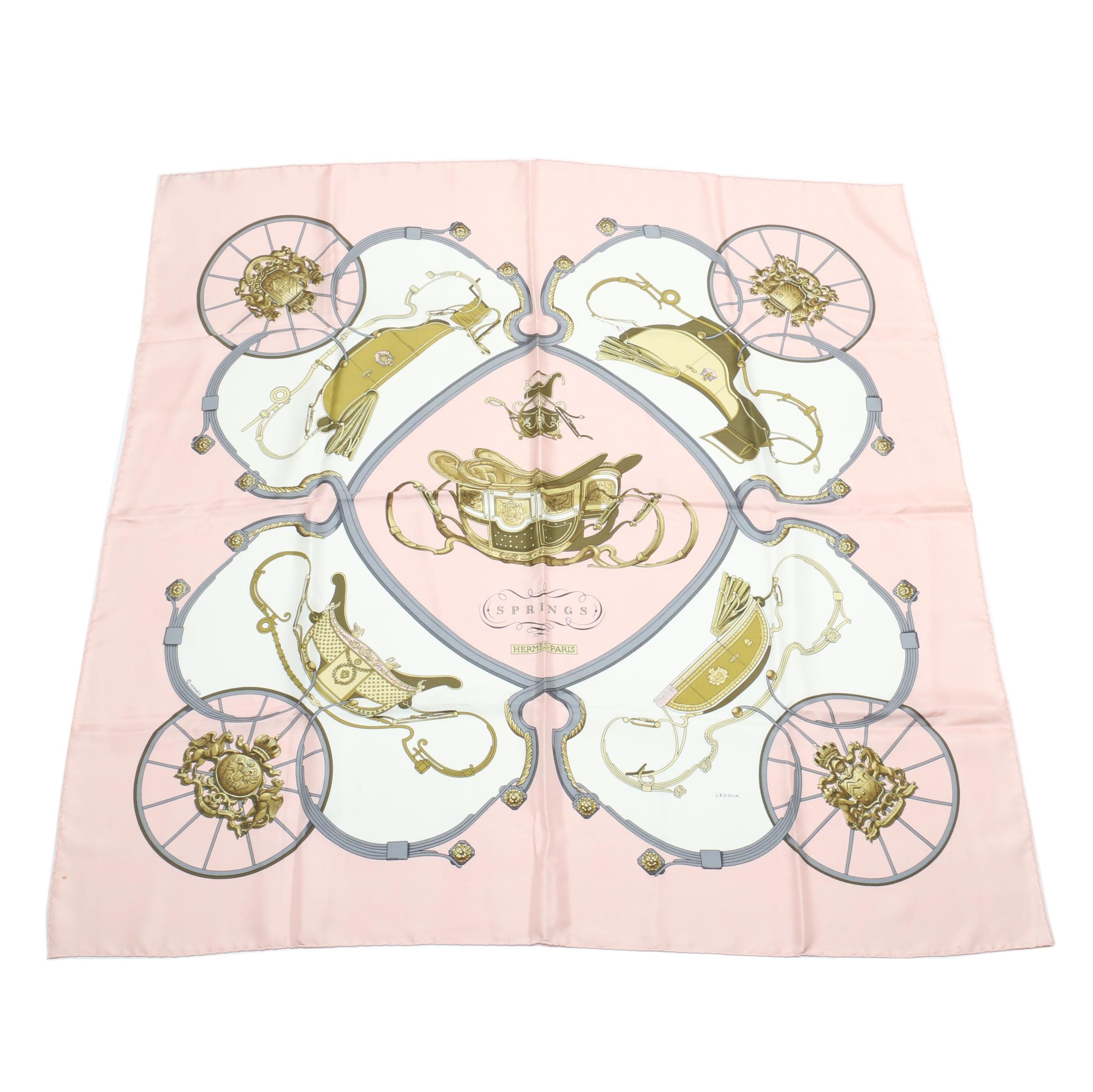 """Hermès of Paris """"Springs"""" Silk Scarf Designed by Philippe Ledoux, Made in France"""