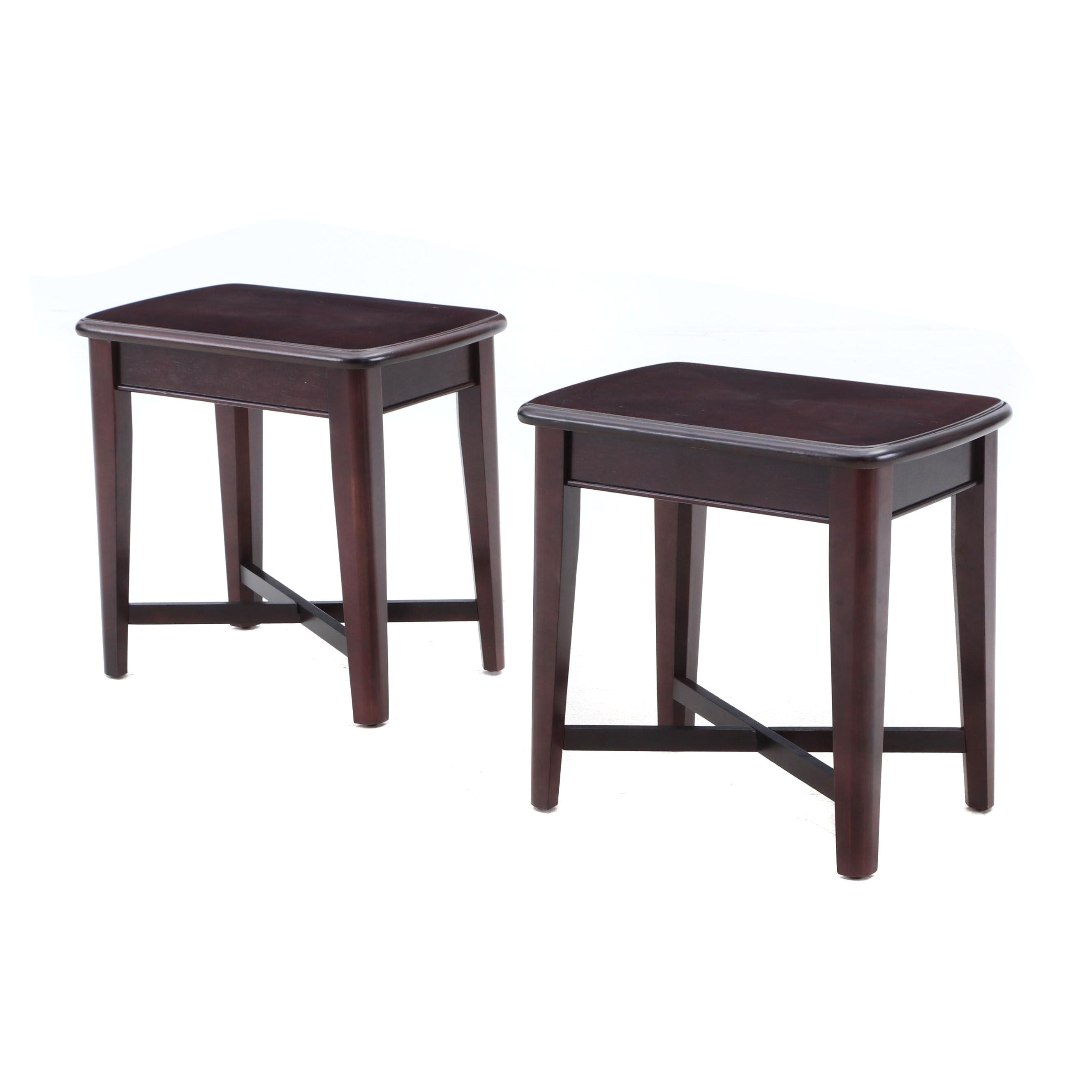 Contemporary Wood Veneer Cherry Finish Side Tables