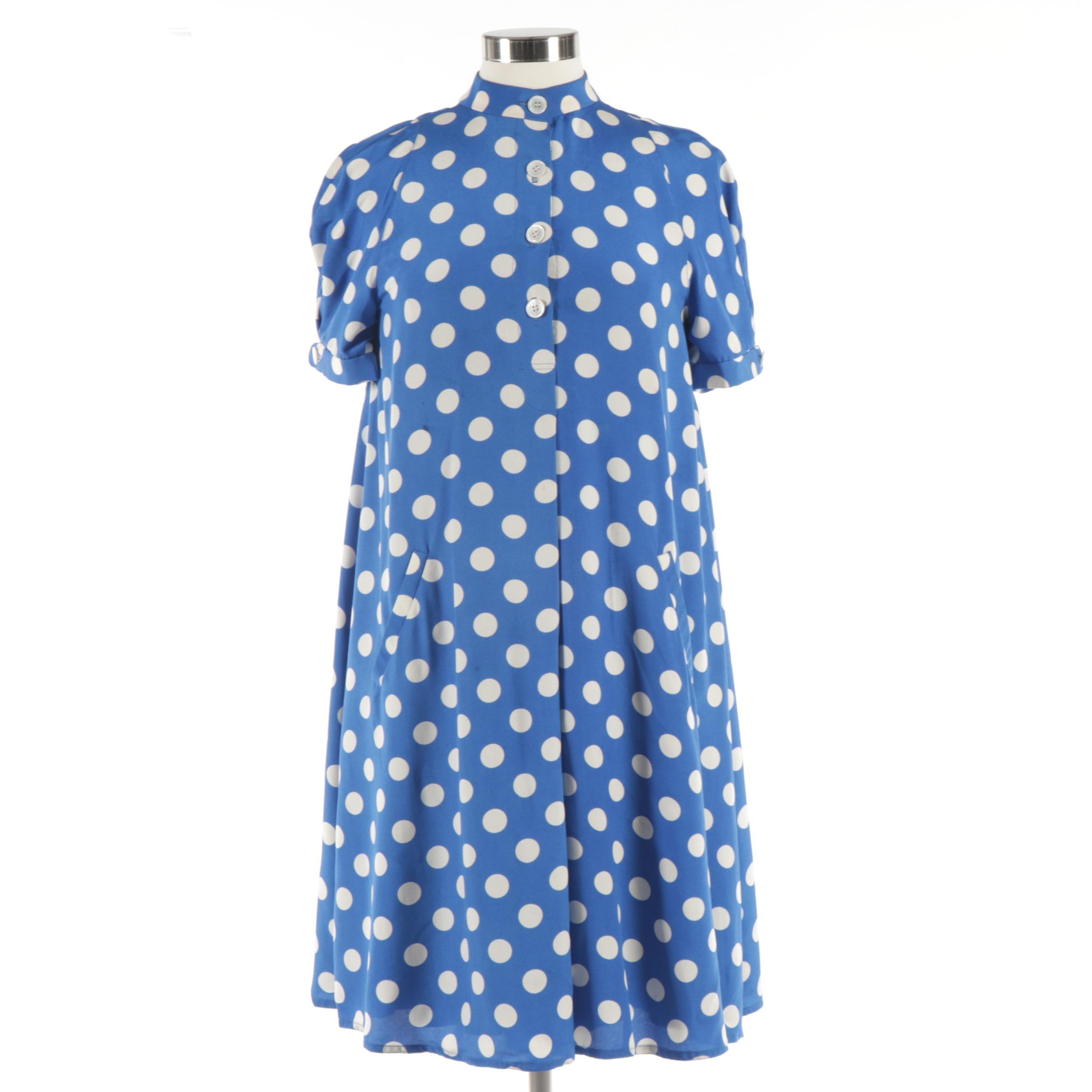 Geoffrey Beene New York Blue and White Polka Dot Swing Dress, 1980s Vintage