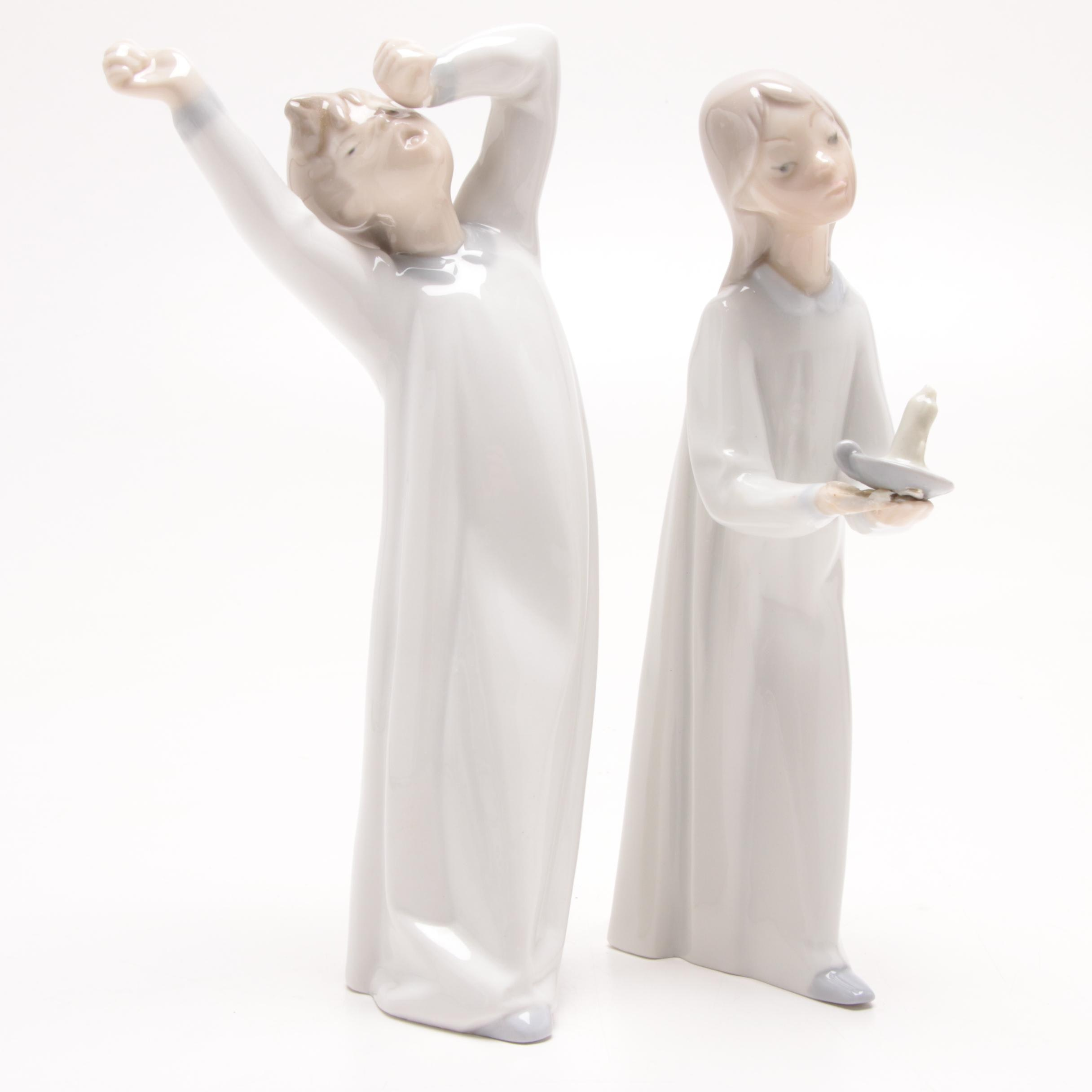 """Lladró """"Yawning Boy"""" and """"Girl with Candle"""" Porcelain Figurines"""