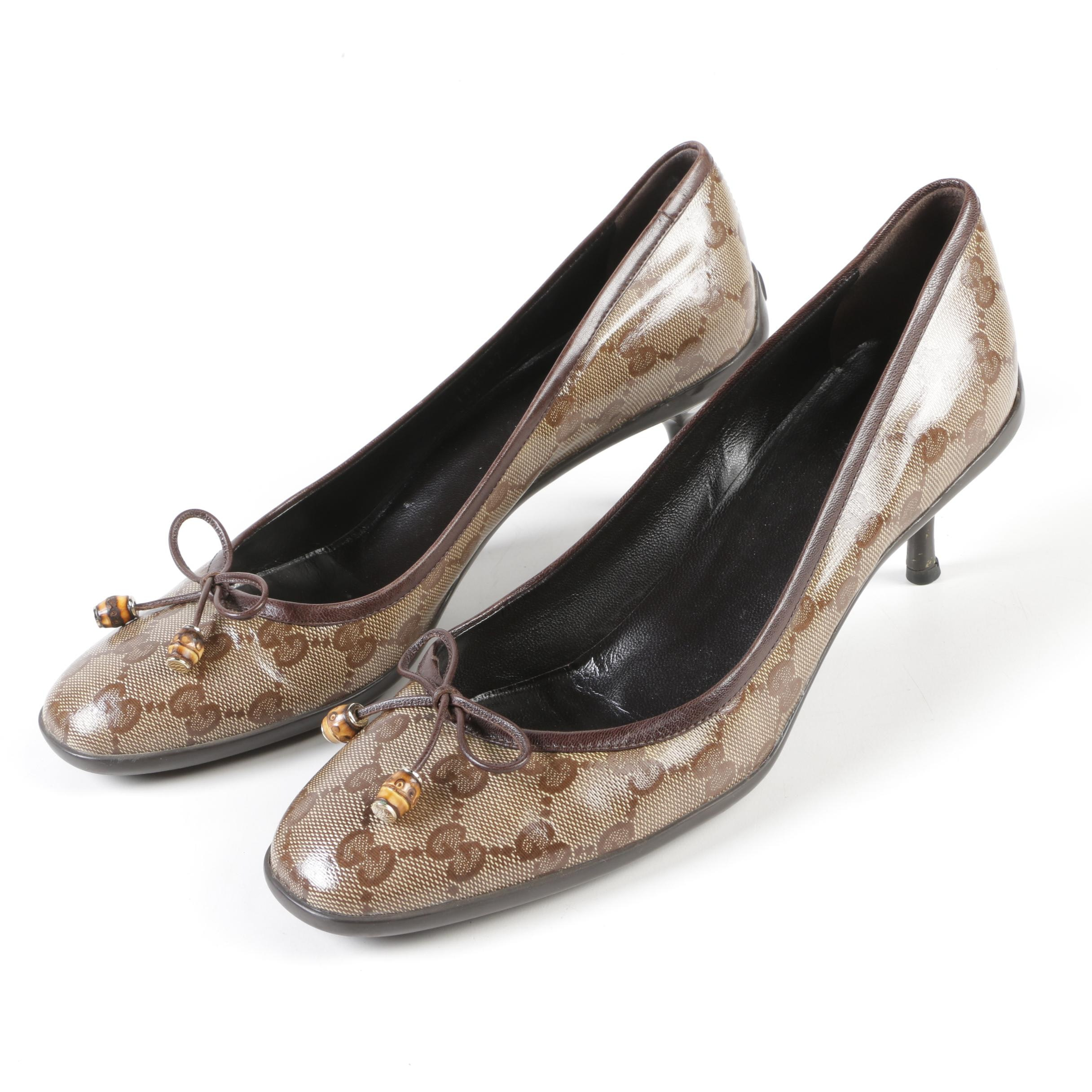 Gucci Brown Monogram Coated Canvas and Leather Pumps