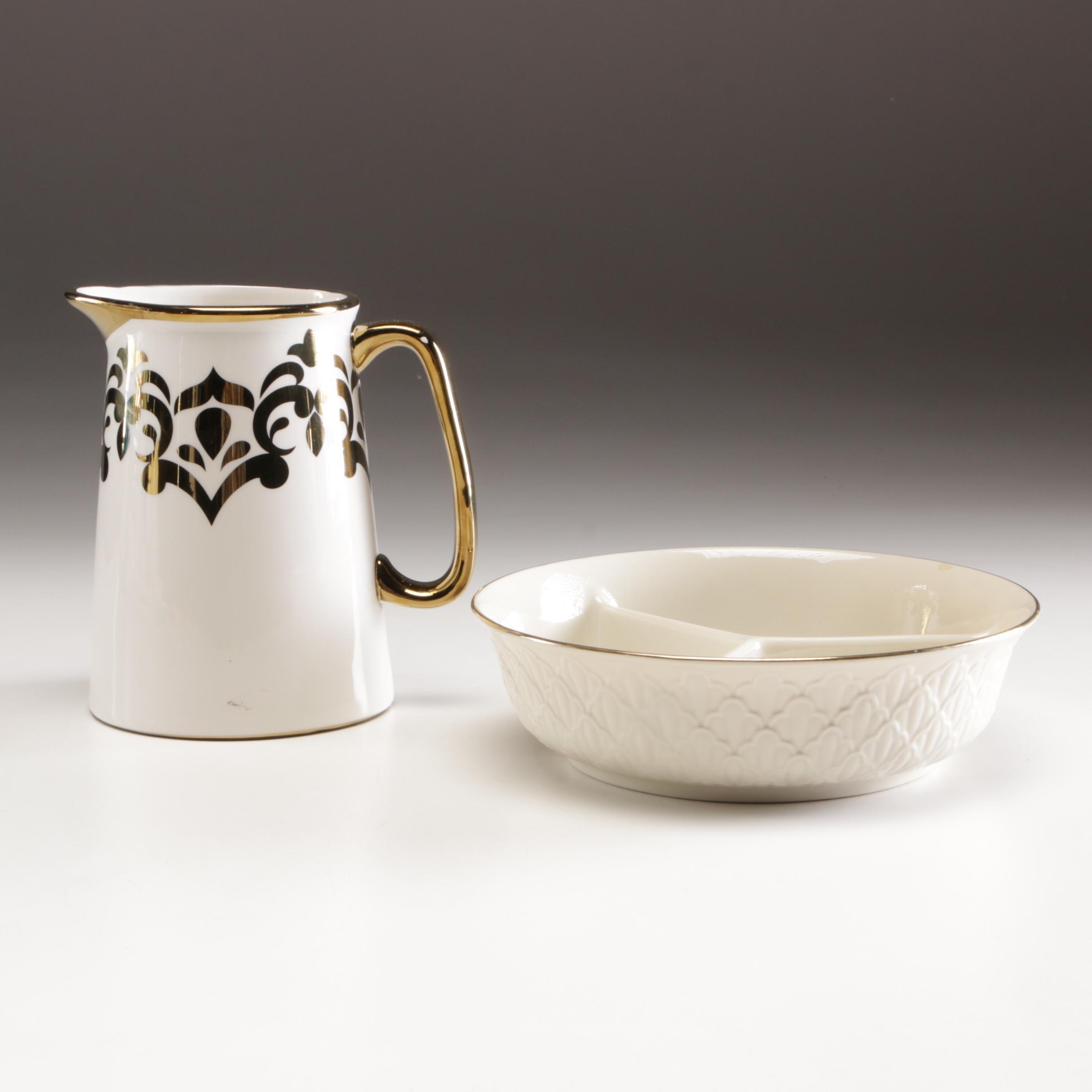 Lenox Porcelain Divided Serving Dish and Ceramic Pitcher